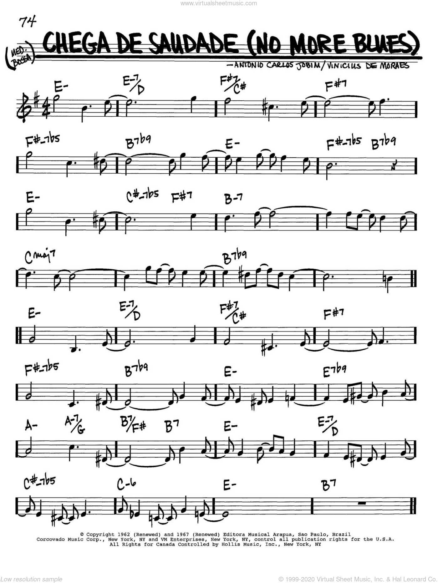 Chega De Saudade (No More Blues) sheet music for voice and other instruments (in Bb) by Antonio Carlos Jobim, Jessie Cavanaugh, Jon Hendricks and Vinicius de Moraes, intermediate. Score Image Preview.