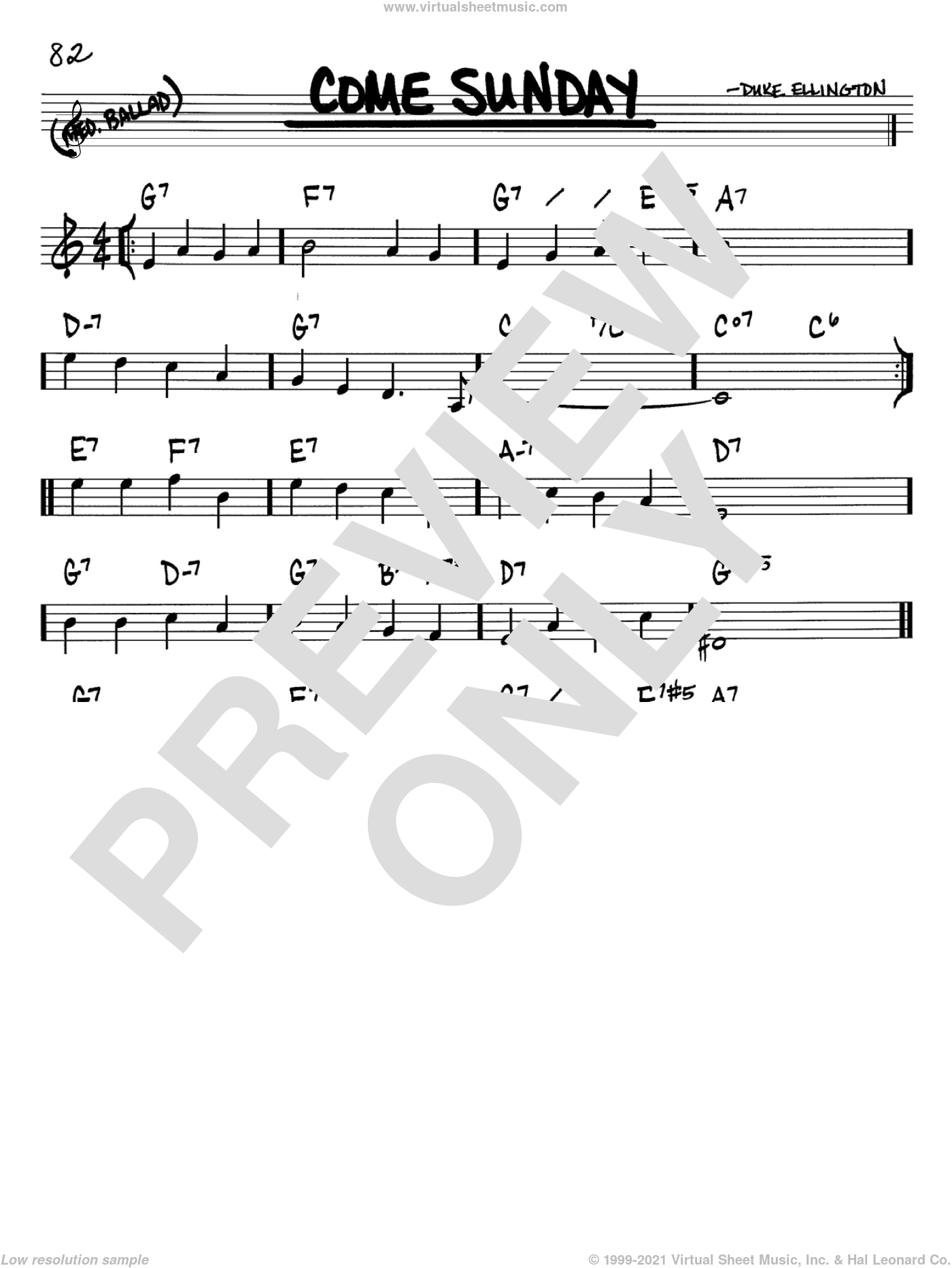 Come Sunday sheet music for voice and other instruments (Bb) by Duke Ellington. Score Image Preview.