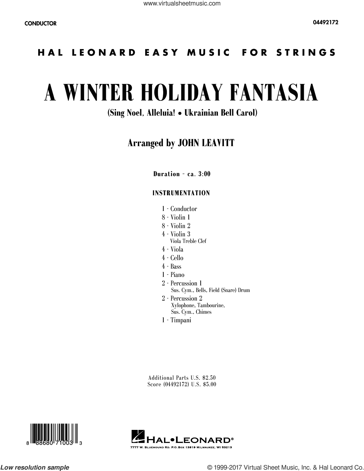 A Winter Holiday Fantasia (COMPLETE) sheet music for orchestra by John Leavitt, intermediate skill level