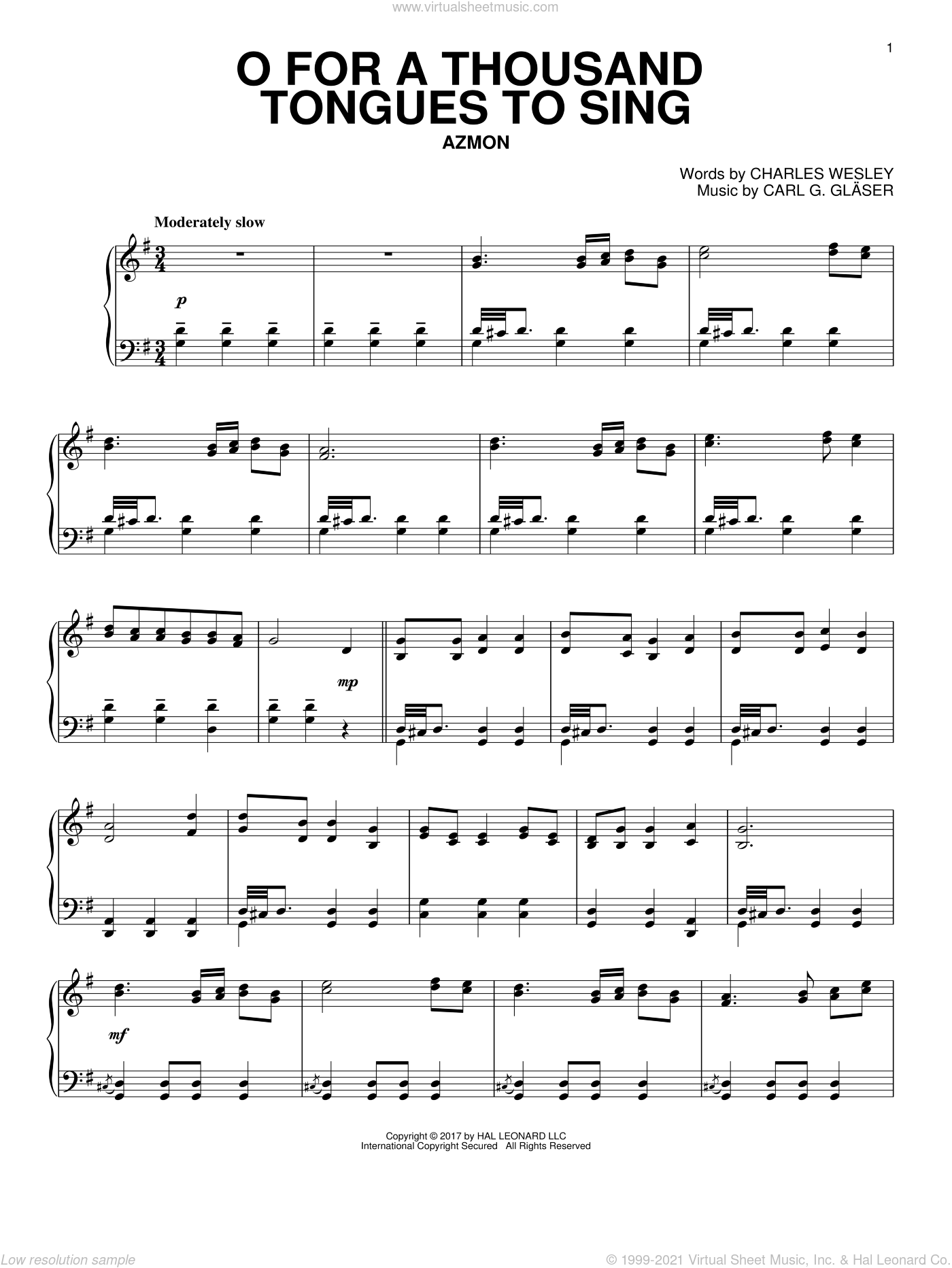 O For A Thousand Tongues To Sing sheet music for piano solo by Charles Wesley, Carl G. Glaser and Lowell Mason, intermediate skill level