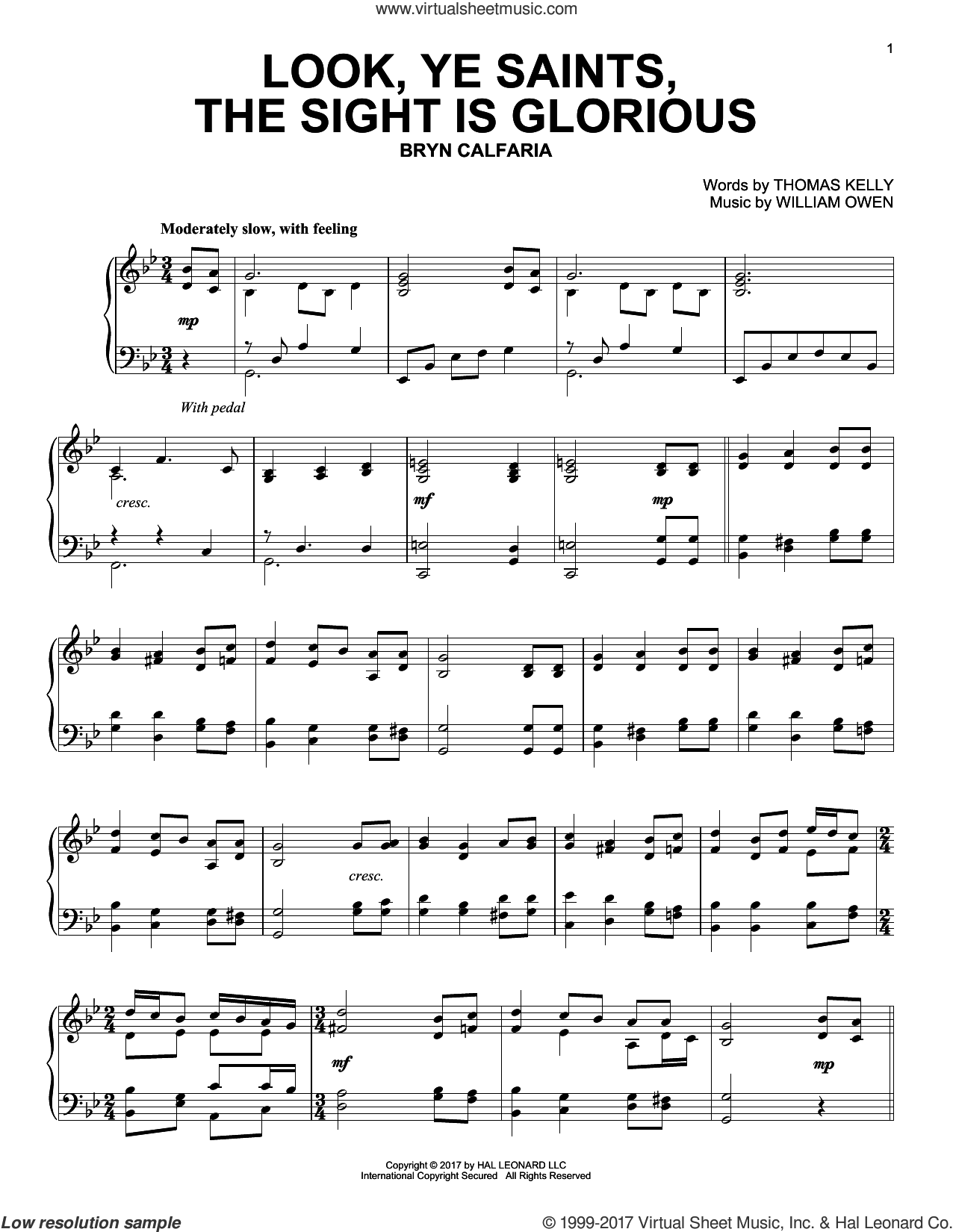 Look, Ye Saints, The Sight Is Glorious sheet music for piano solo by William Owen and Thomas Kelly, intermediate skill level