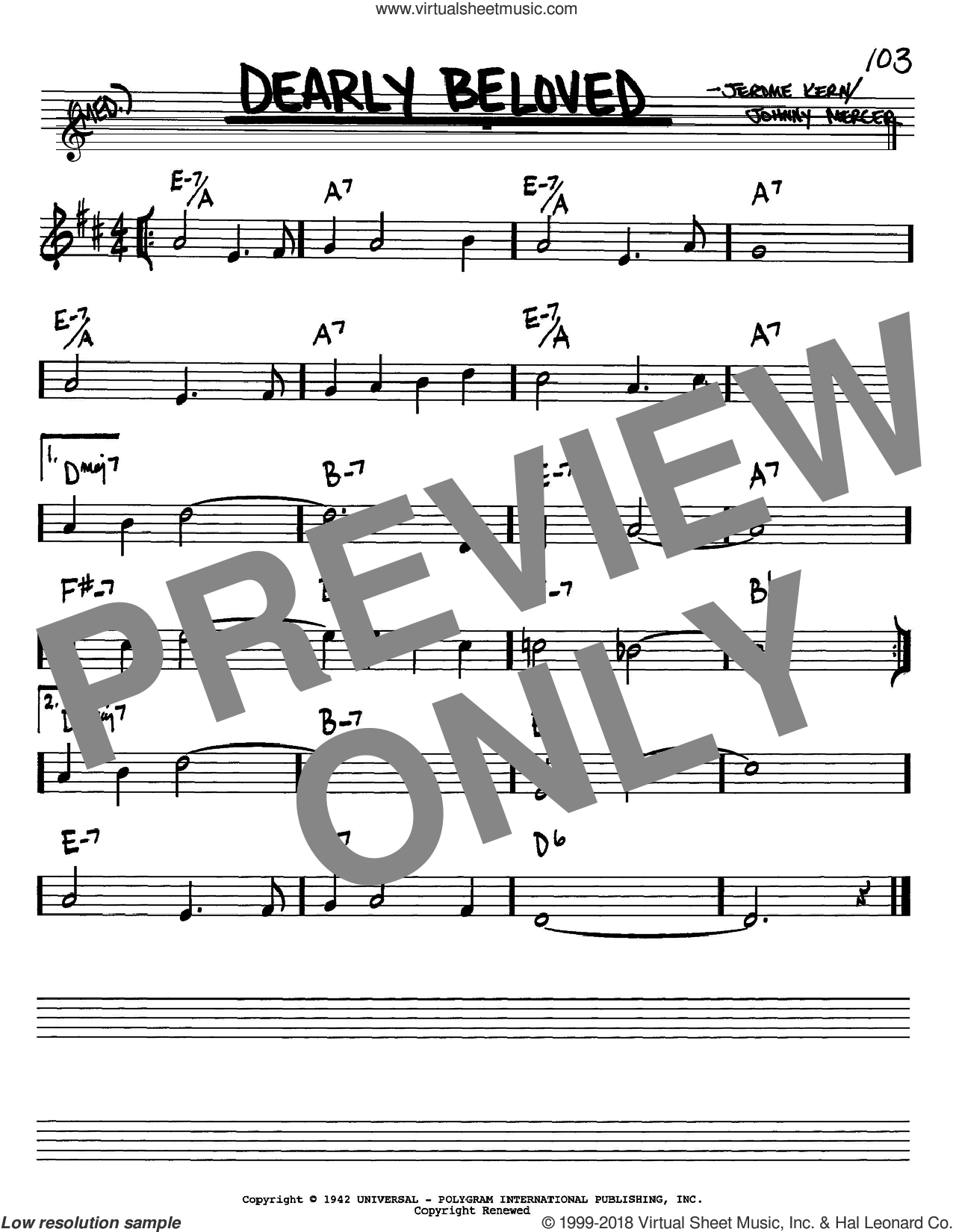 Dearly Beloved sheet music for voice and other instruments (Bb) by Jerome Kern and Johnny Mercer. Score Image Preview.