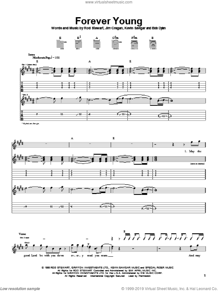 Forever Young sheet music for guitar (tablature) by Kevin Savigar, Rod Stewart, Bob Dylan and Jim Cregan. Score Image Preview.