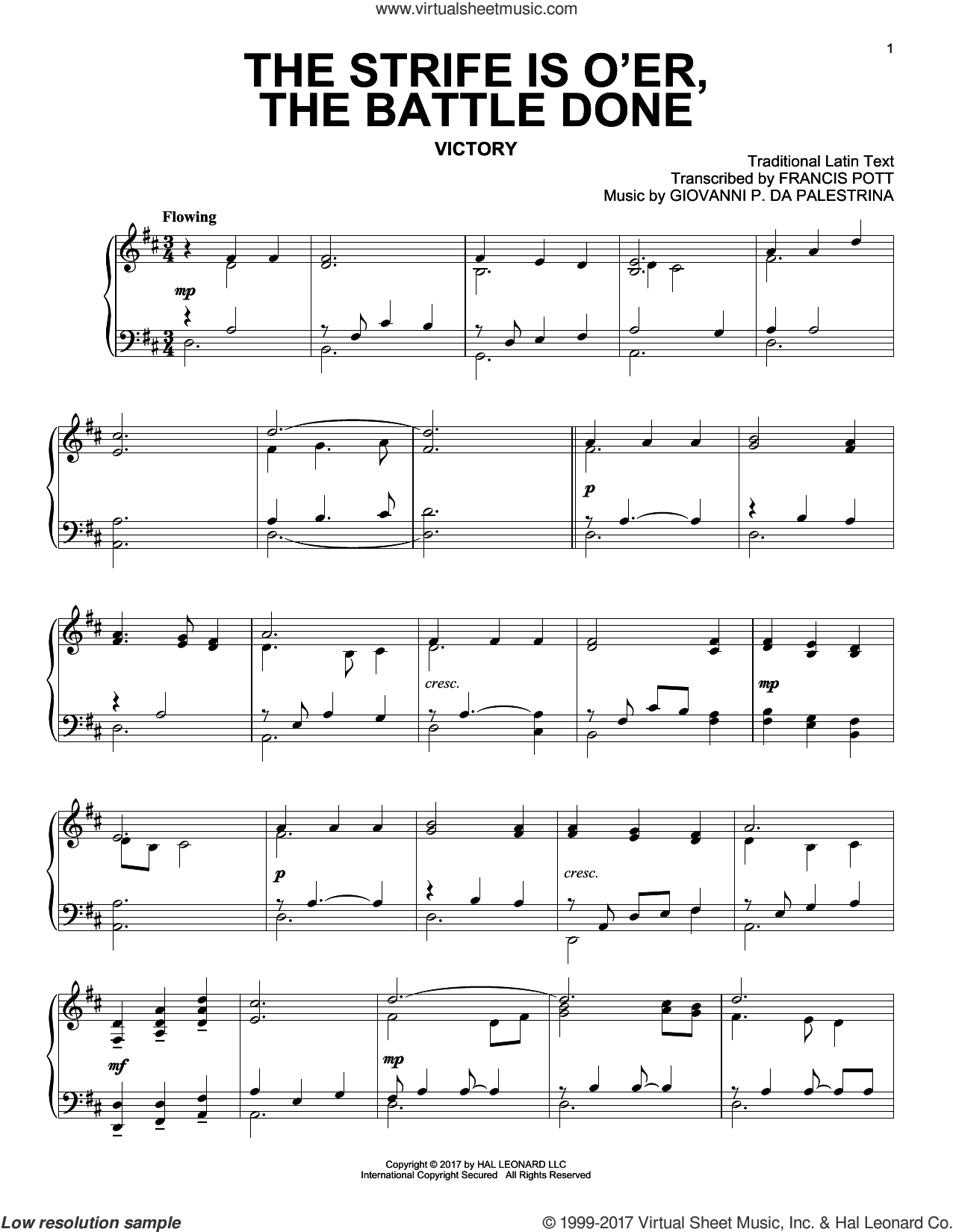 The Strife Is O'er, The Battle Done sheet music for piano solo by Francis Pott, Miscellaneous and Giovanni P. da Palestrina, classical score, intermediate skill level