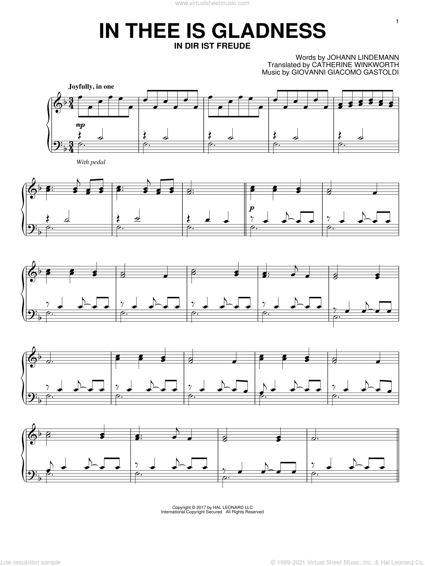 In Thee Is Gladness sheet music for piano solo by Catherine Winkworth and Giovanni Giacomo Gastoldi, intermediate. Score Image Preview.