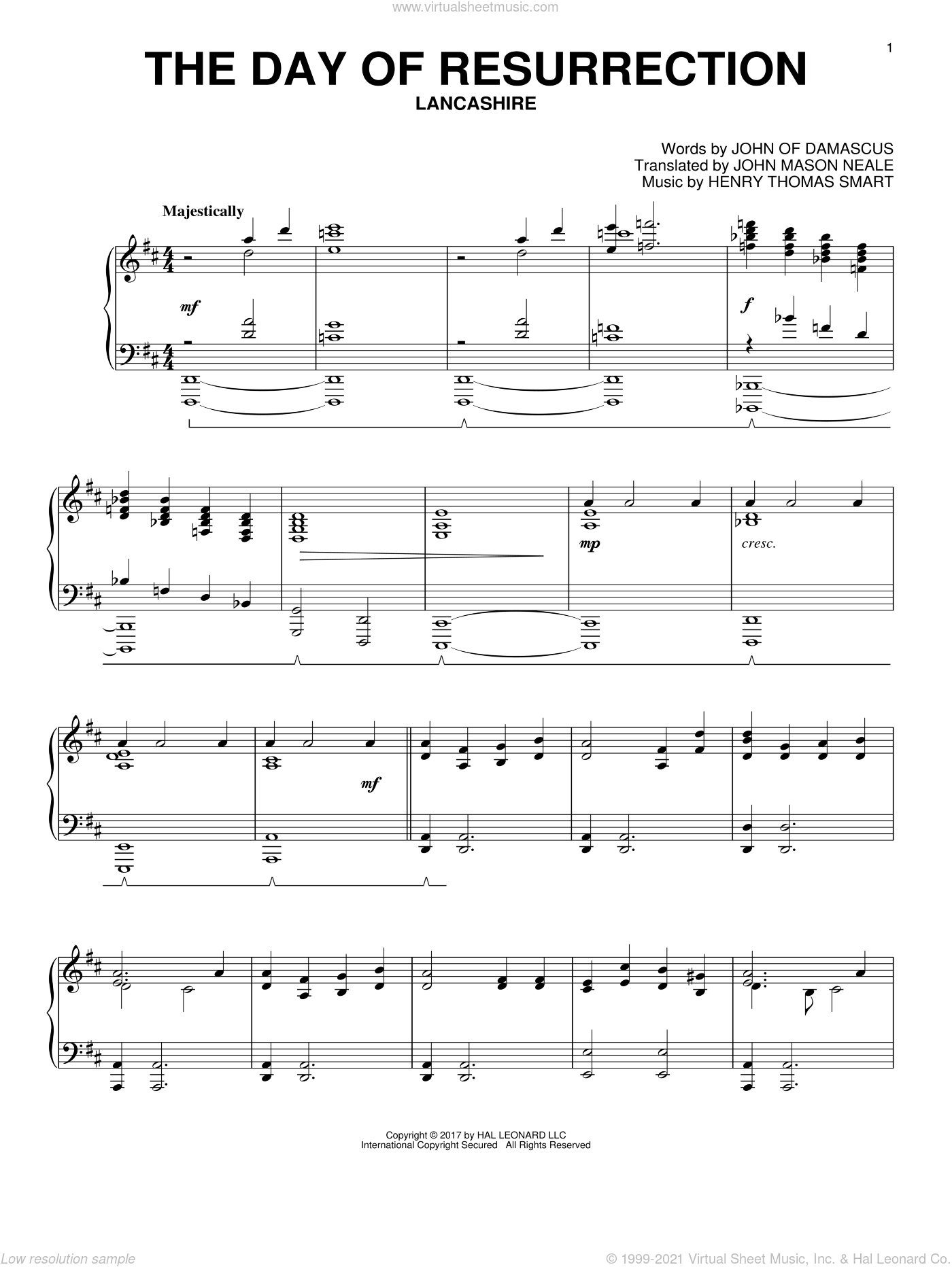 The Day Of Resurrection sheet music for piano solo by John Mason Neale, Henry Thomas Smart and John of Damascus, intermediate. Score Image Preview.