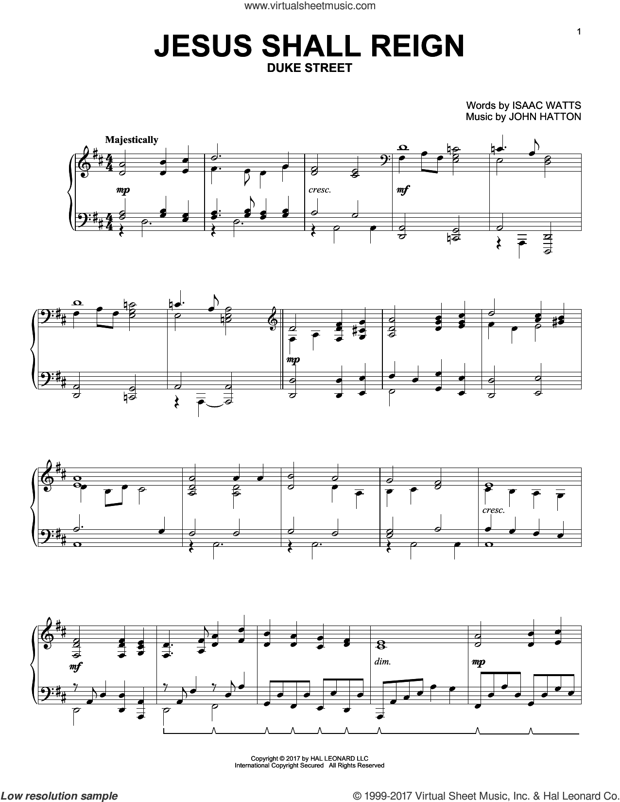 Jesus Shall Reign sheet music for piano solo by Isaac Watts and John Hatton, intermediate skill level