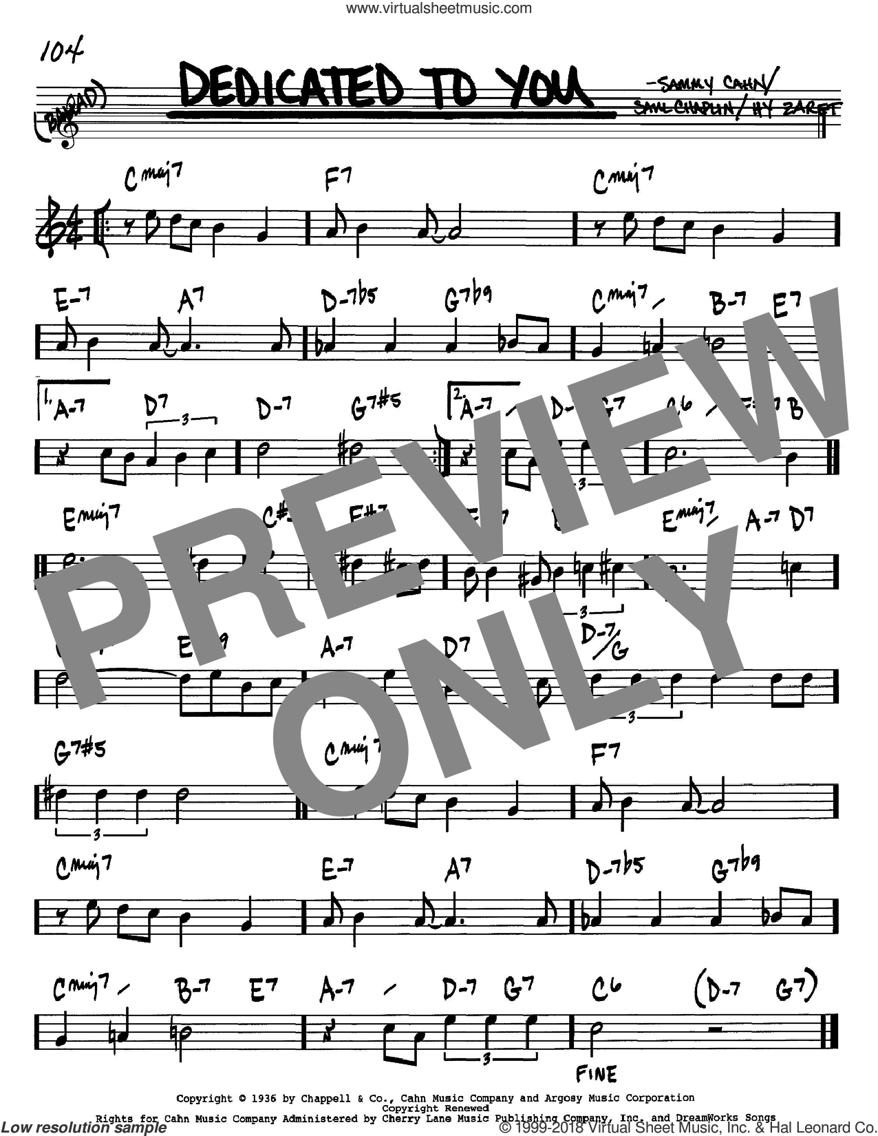 Dedicated To You sheet music for voice and other instruments (in Bb) by Sammy Cahn, Hy Zaret and Saul Chaplin, intermediate skill level