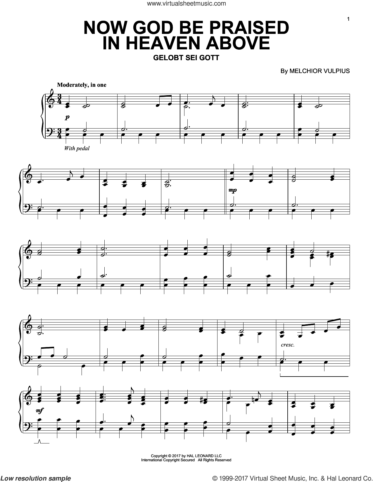 Now God Be Praised In Heaven Above sheet music for piano solo by Melchior Vulpius, intermediate skill level