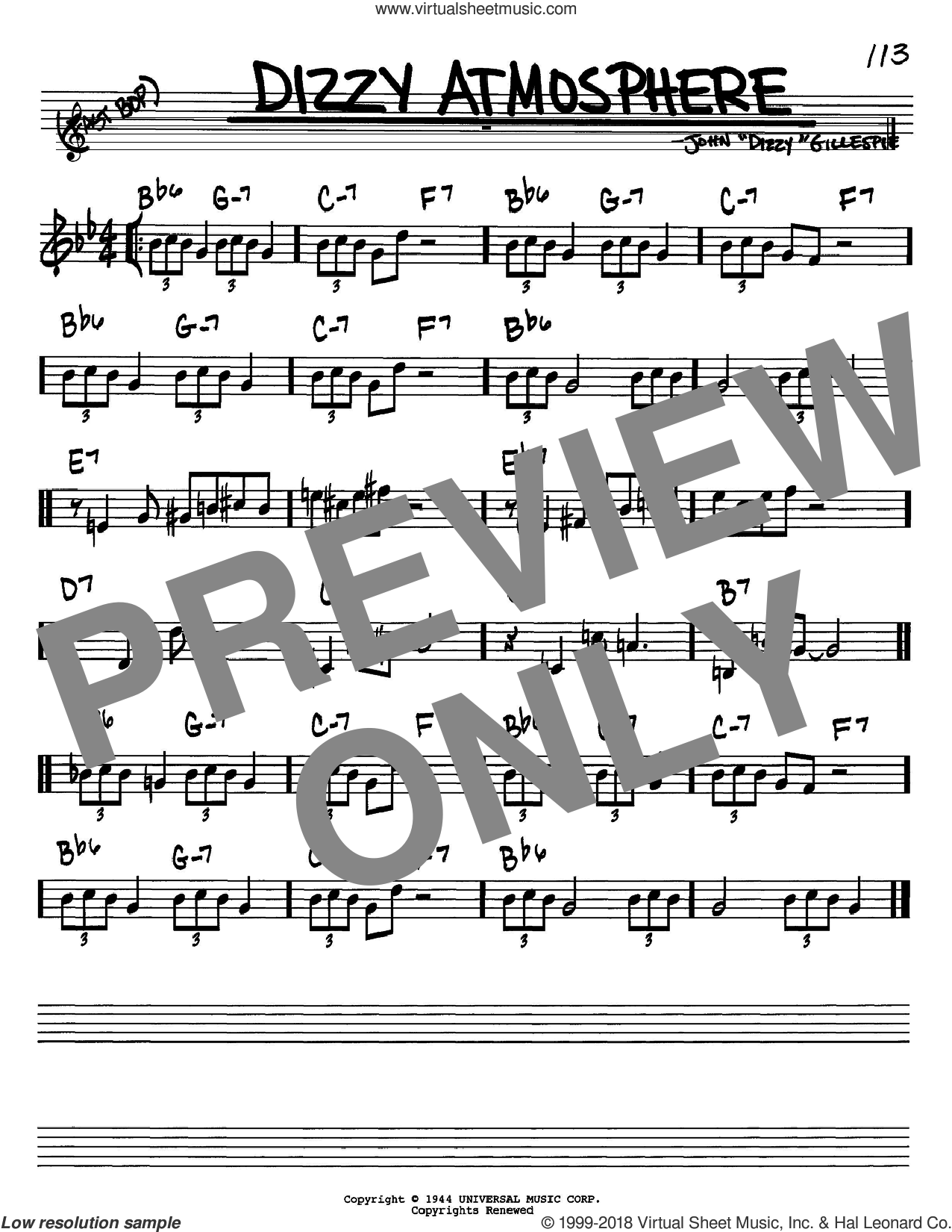 Dizzy Atmosphere sheet music for voice and other instruments (Bb) by Dizzy Gillespie