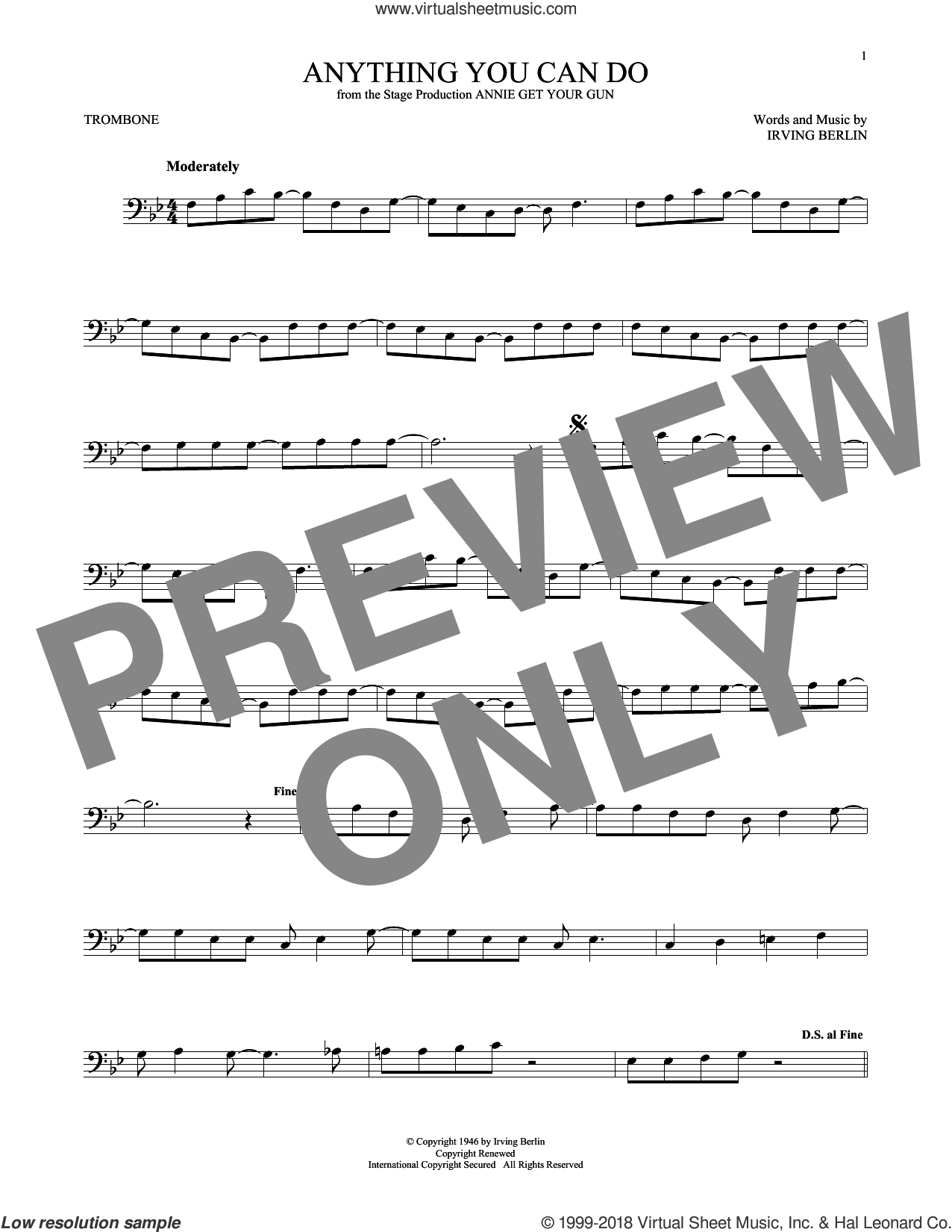 Anything You Can Do sheet music for trombone solo by Irving Berlin, intermediate skill level