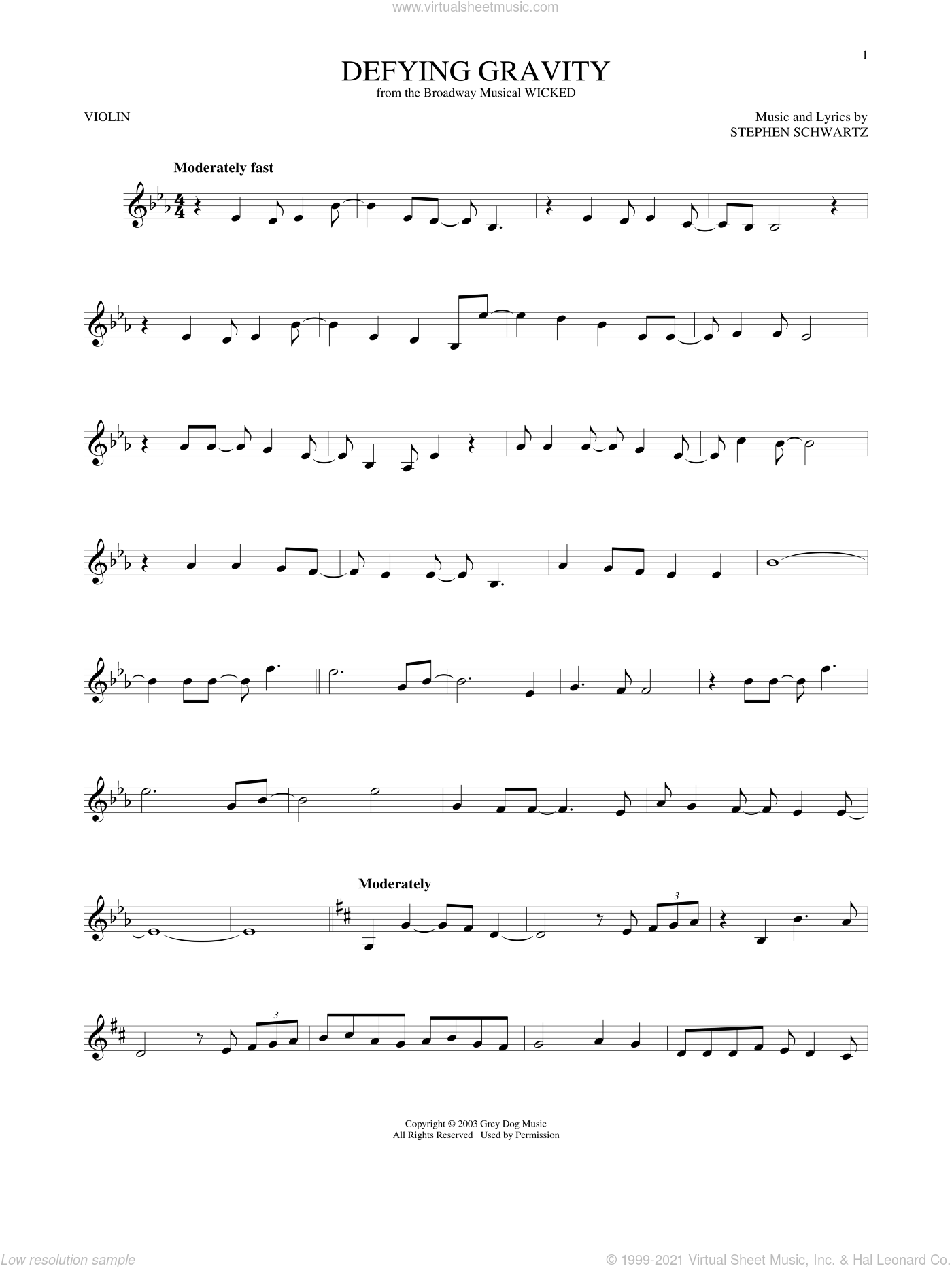 Defying Gravity sheet music for violin solo by Stephen Schwartz, intermediate skill level