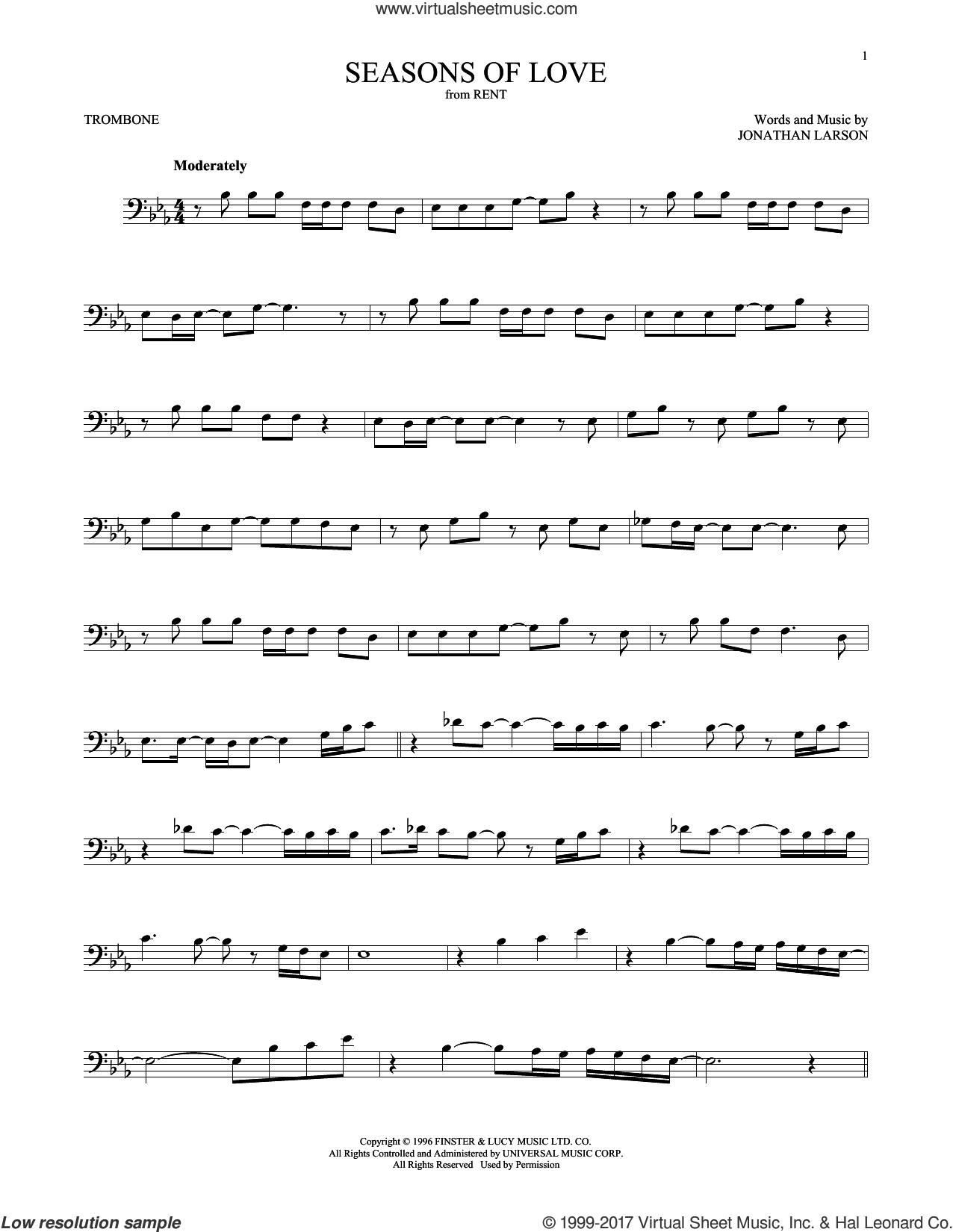 Seasons Of Love (from Rent) sheet music for trombone solo by Jonathan Larson, intermediate skill level