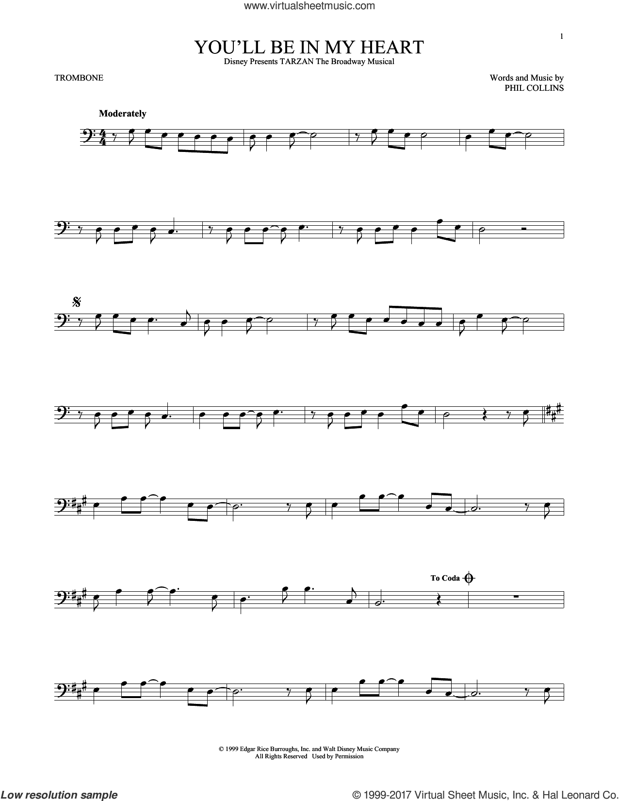 You'll Be In My Heart sheet music for trombone solo by Phil Collins, intermediate. Score Image Preview.