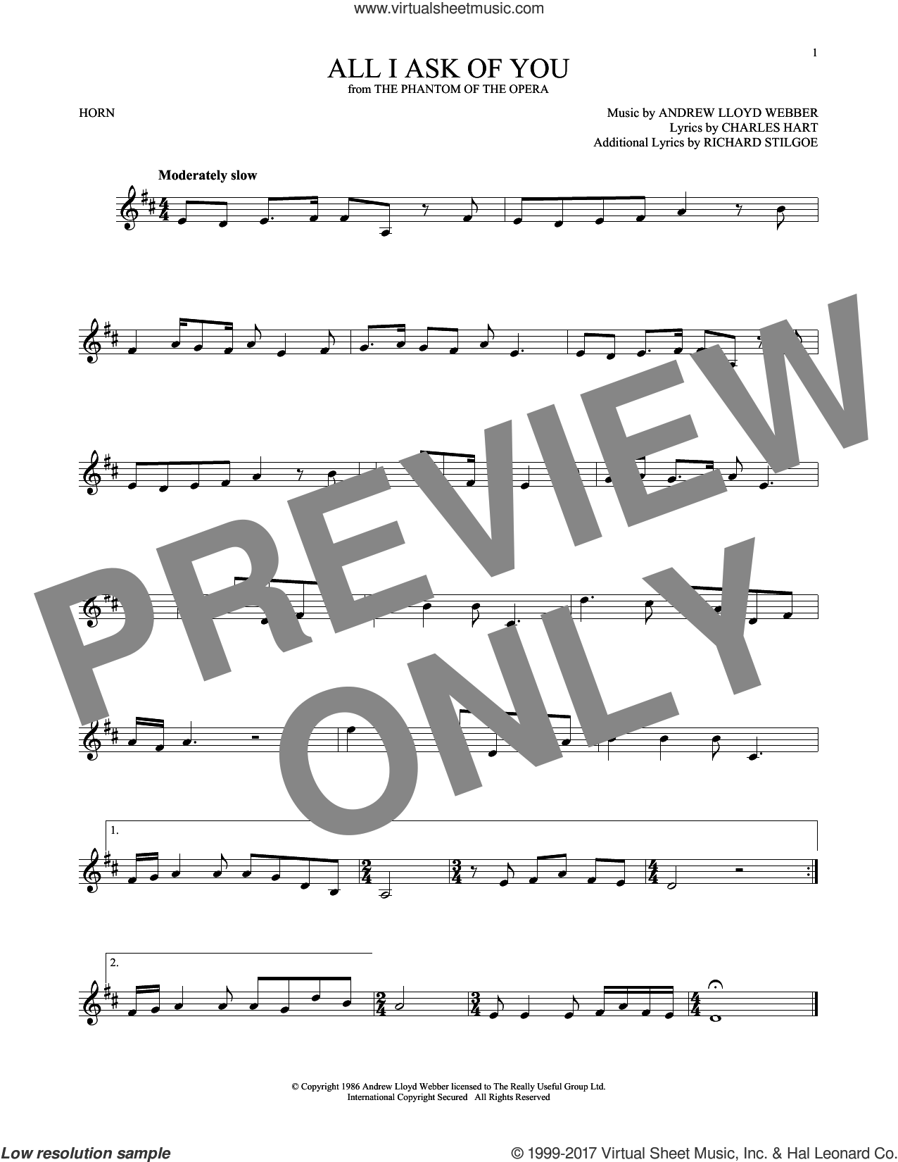 All I Ask Of You sheet music for horn solo by Andrew Lloyd Webber, Barbra Streisand, Charles Hart and Richard Stilgoe, intermediate