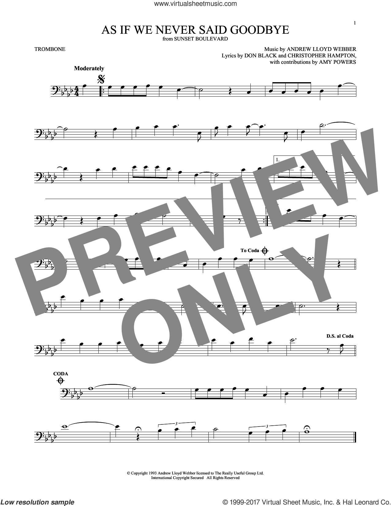 As If We Never Said Goodbye sheet music for trombone solo by Andrew Lloyd Webber, Christopher Hampton and Don Black, intermediate skill level