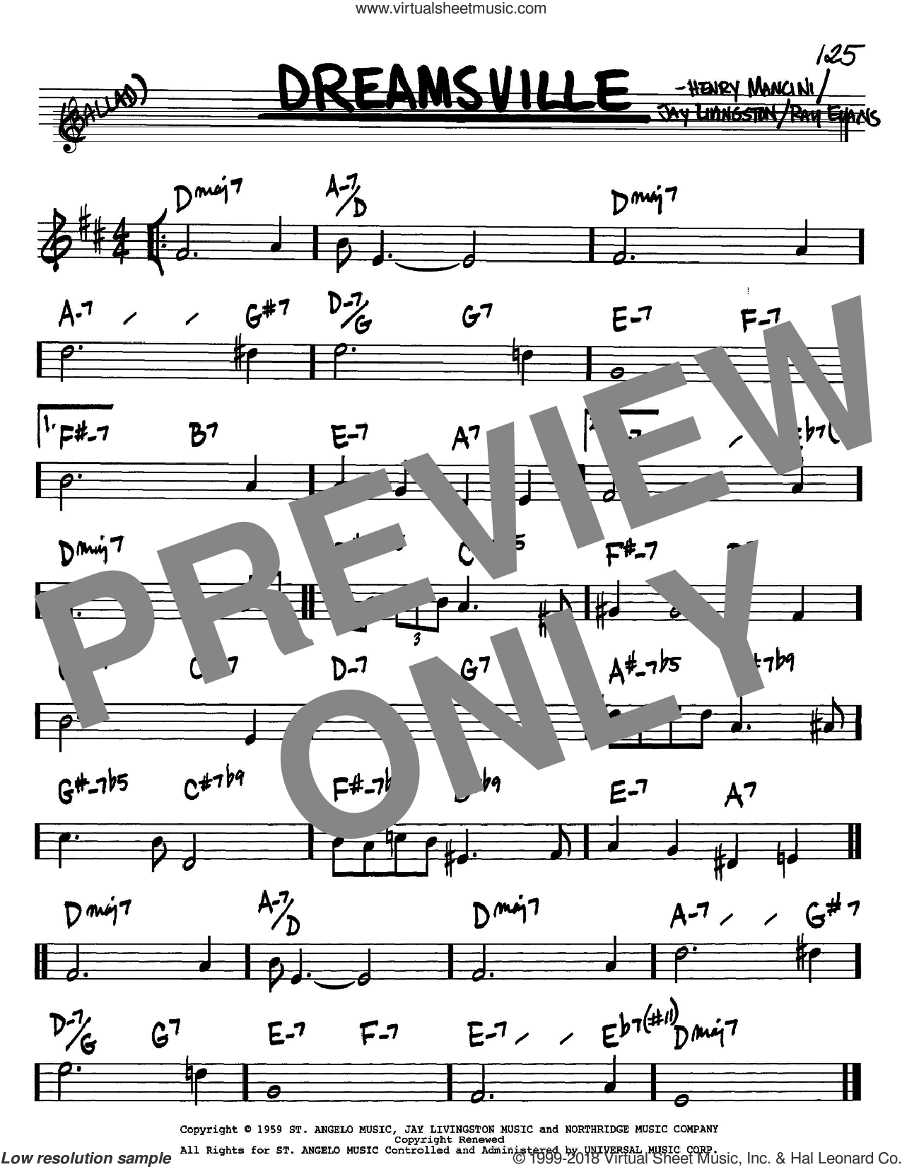 Dreamsville sheet music for voice and other instruments (Bb) by Ray Evans, Henry Mancini and Jay Livingston. Score Image Preview.