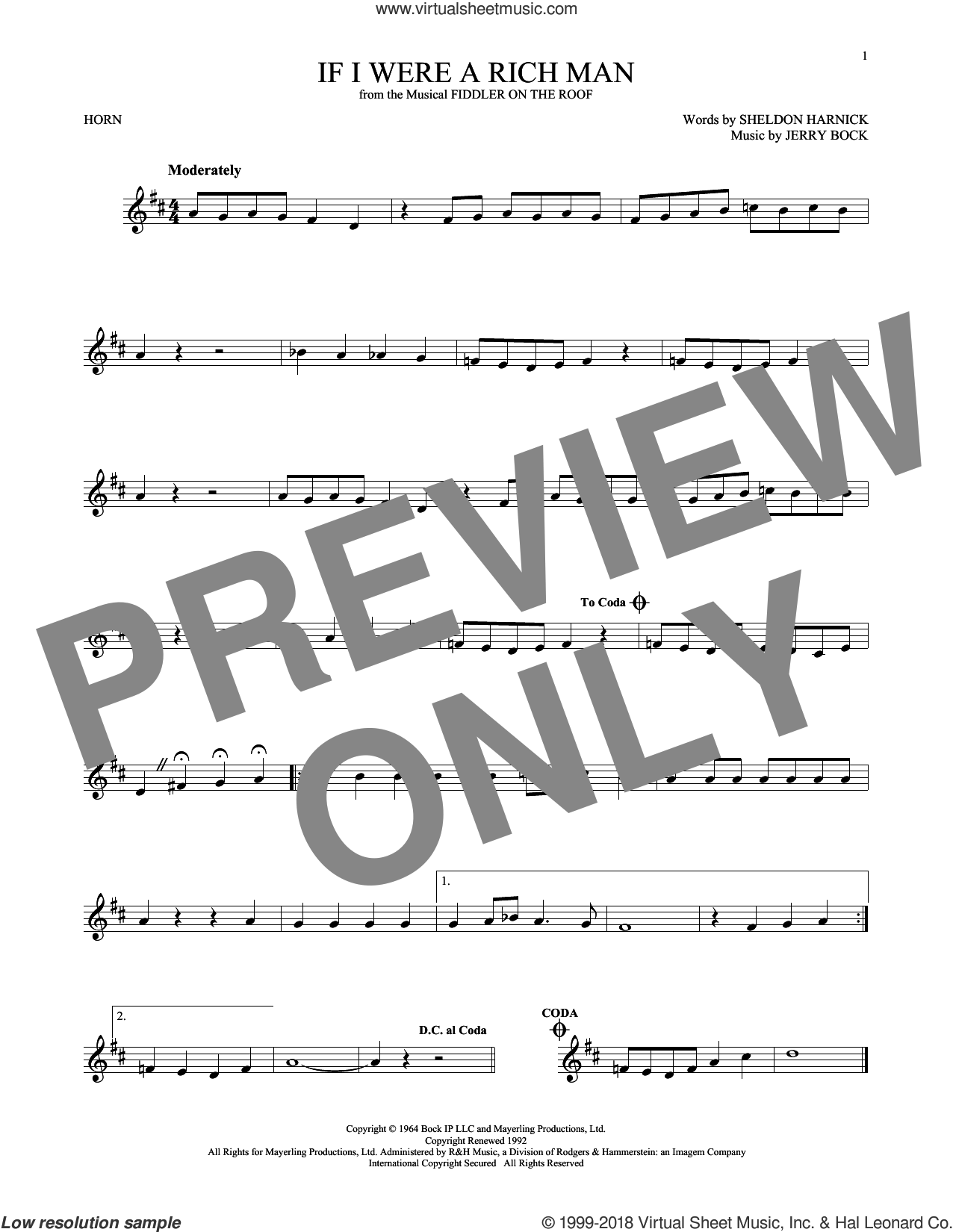 If I Were A Rich Man sheet music for horn solo by Sheldon Harnick and Jerry Bock, intermediate skill level