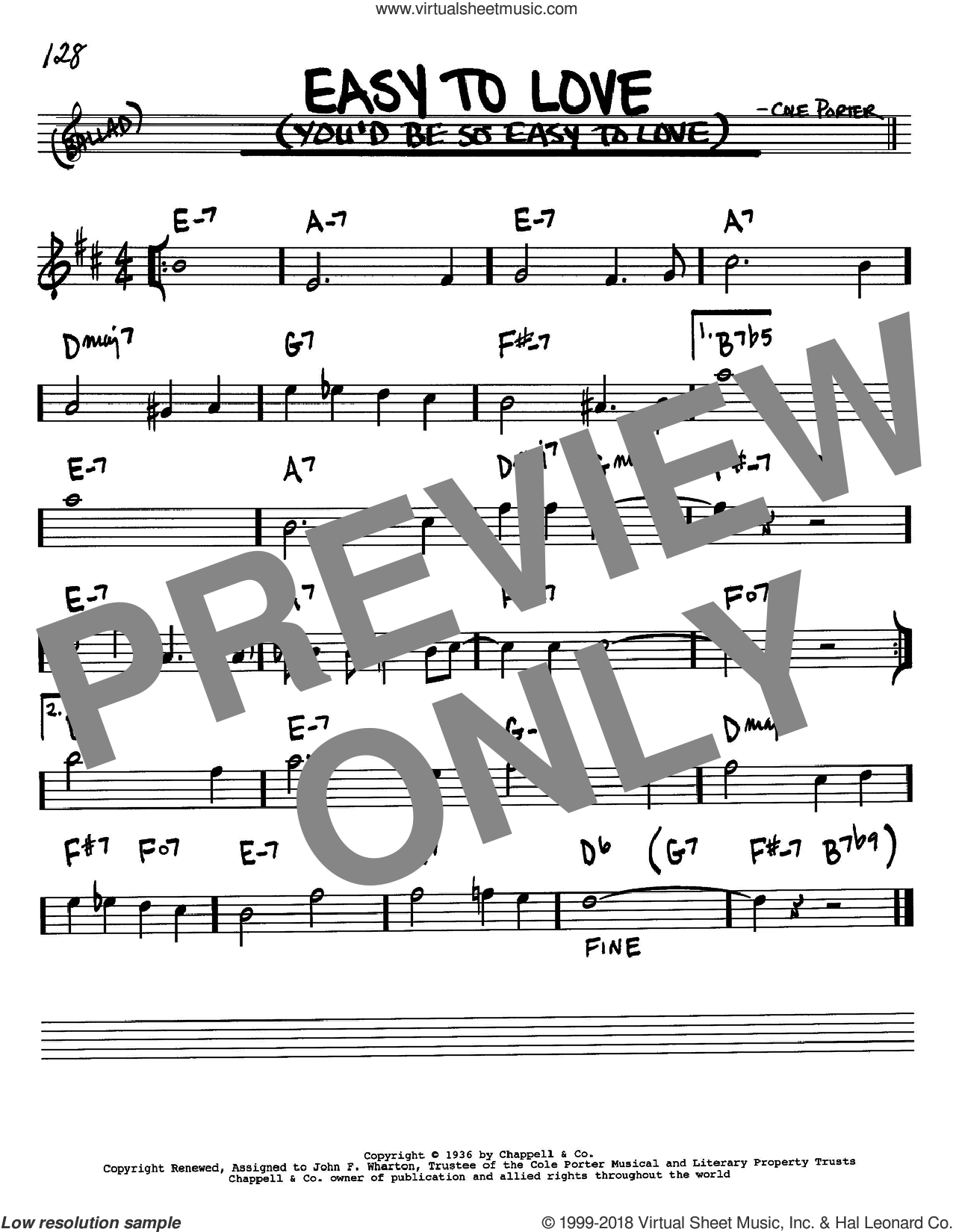Easy To Love (You'd Be So Easy To Love) sheet music for voice and other instruments (Bb) by Cole Porter, intermediate voice. Score Image Preview.