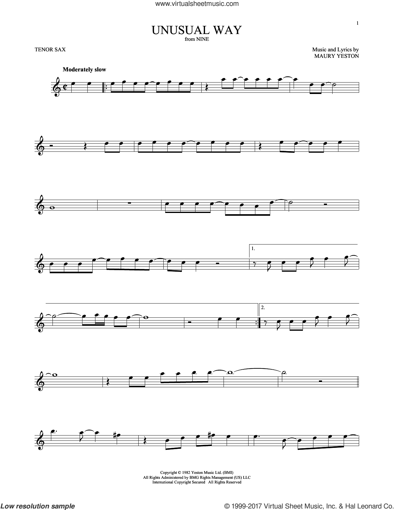 Unusual Way sheet music for tenor saxophone solo by Maury Yeston and Linda Eder, intermediate. Score Image Preview.