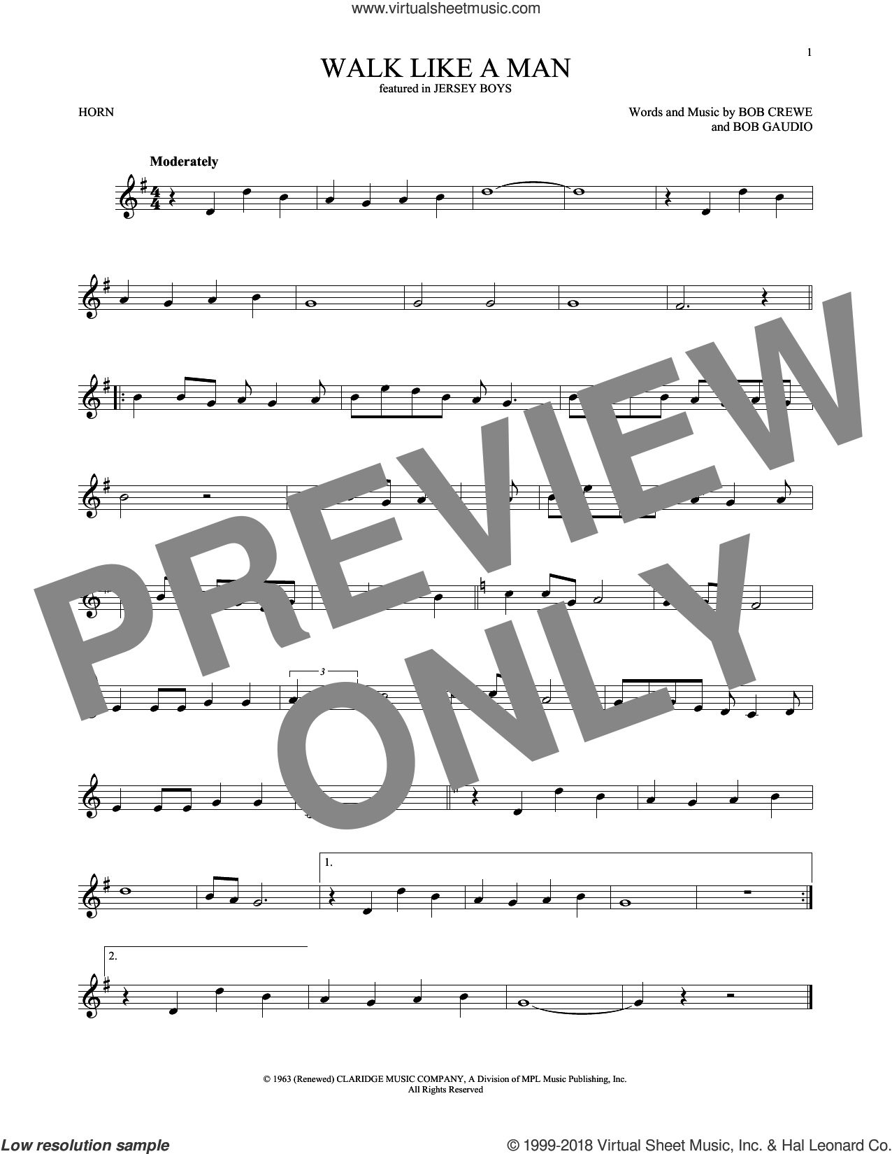 Walk Like A Man sheet music for horn solo by The Four Seasons, Bob Crewe and Bob Gaudio, intermediate skill level
