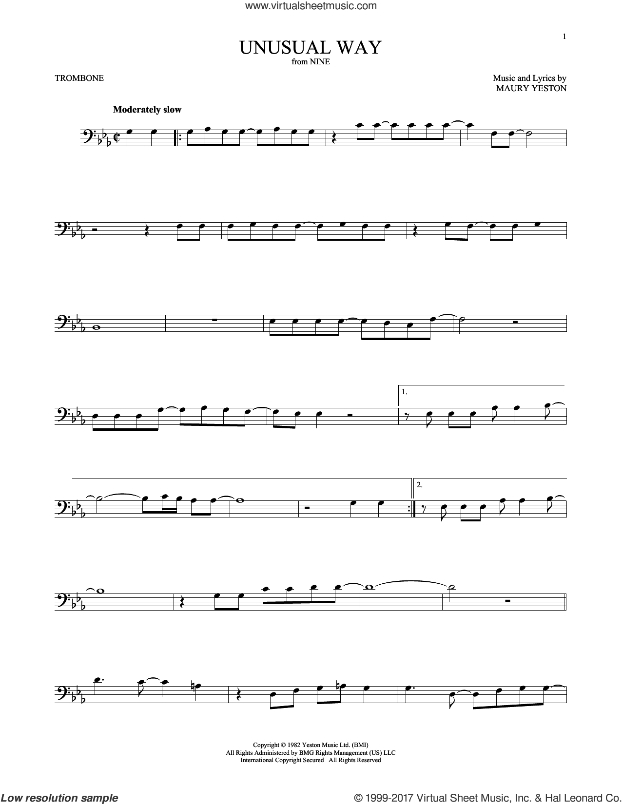 Unusual Way sheet music for trombone solo by Maury Yeston and Linda Eder. Score Image Preview.