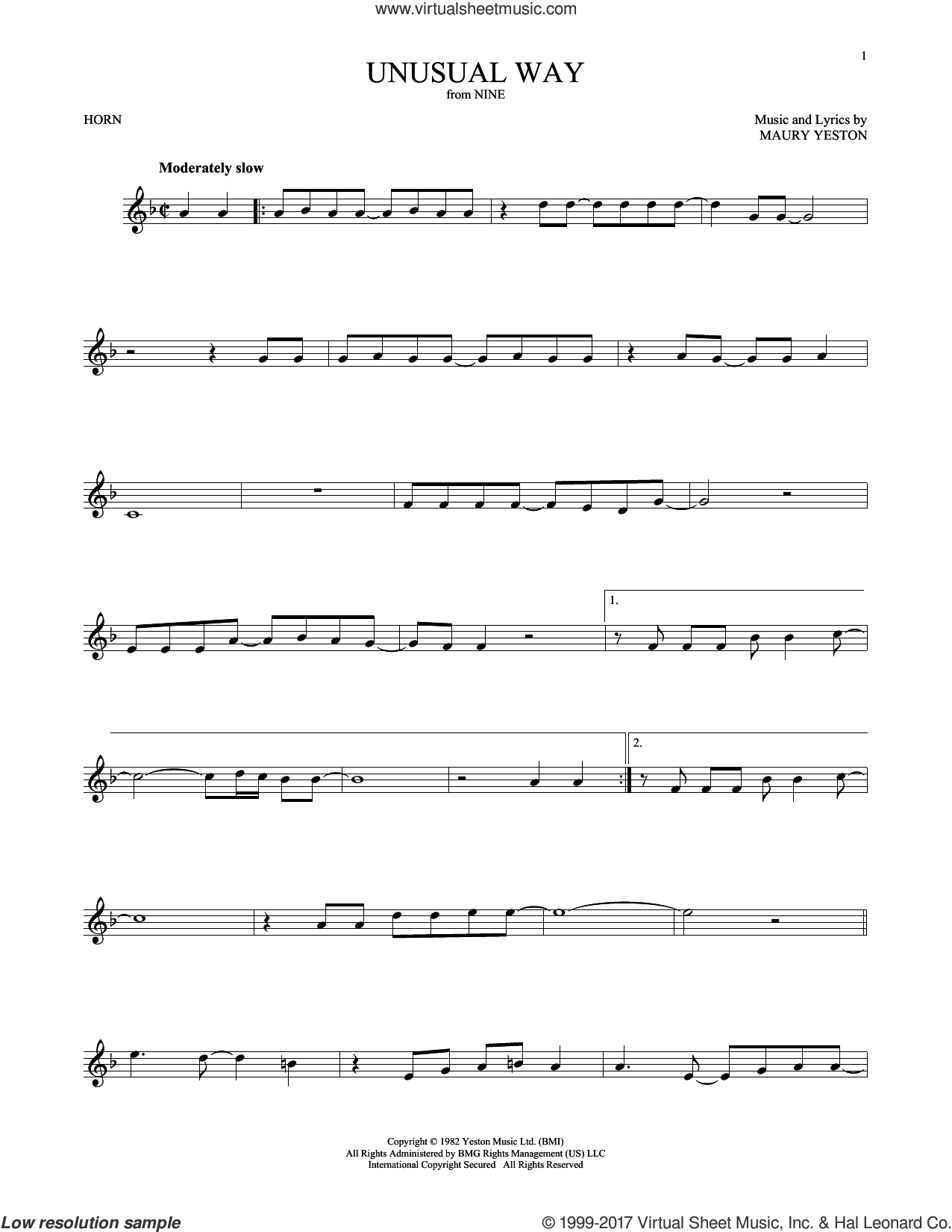 Unusual Way sheet music for horn solo by Maury Yeston and Linda Eder, intermediate skill level