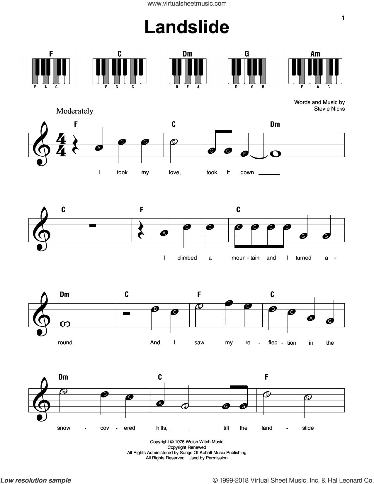 Landslide, (beginner) sheet music for piano solo by Fleetwood Mac, Dixie Chicks and Stevie Nicks, beginner skill level