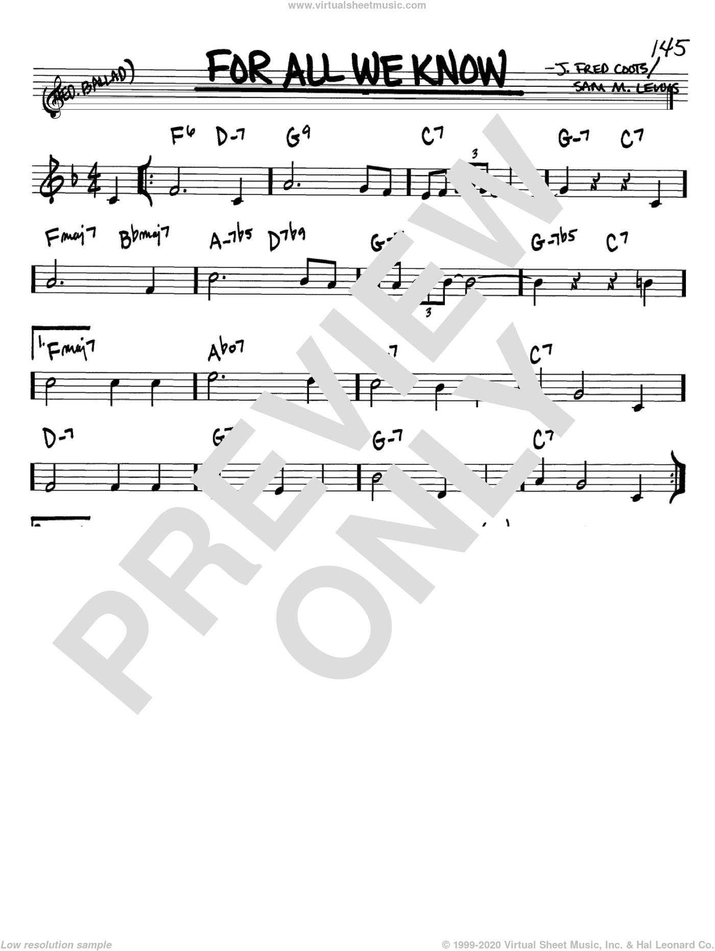 For All We Know sheet music for voice and other instruments (Bb) by J. Fred Coots and Sam Lewis, intermediate voice. Score Image Preview.