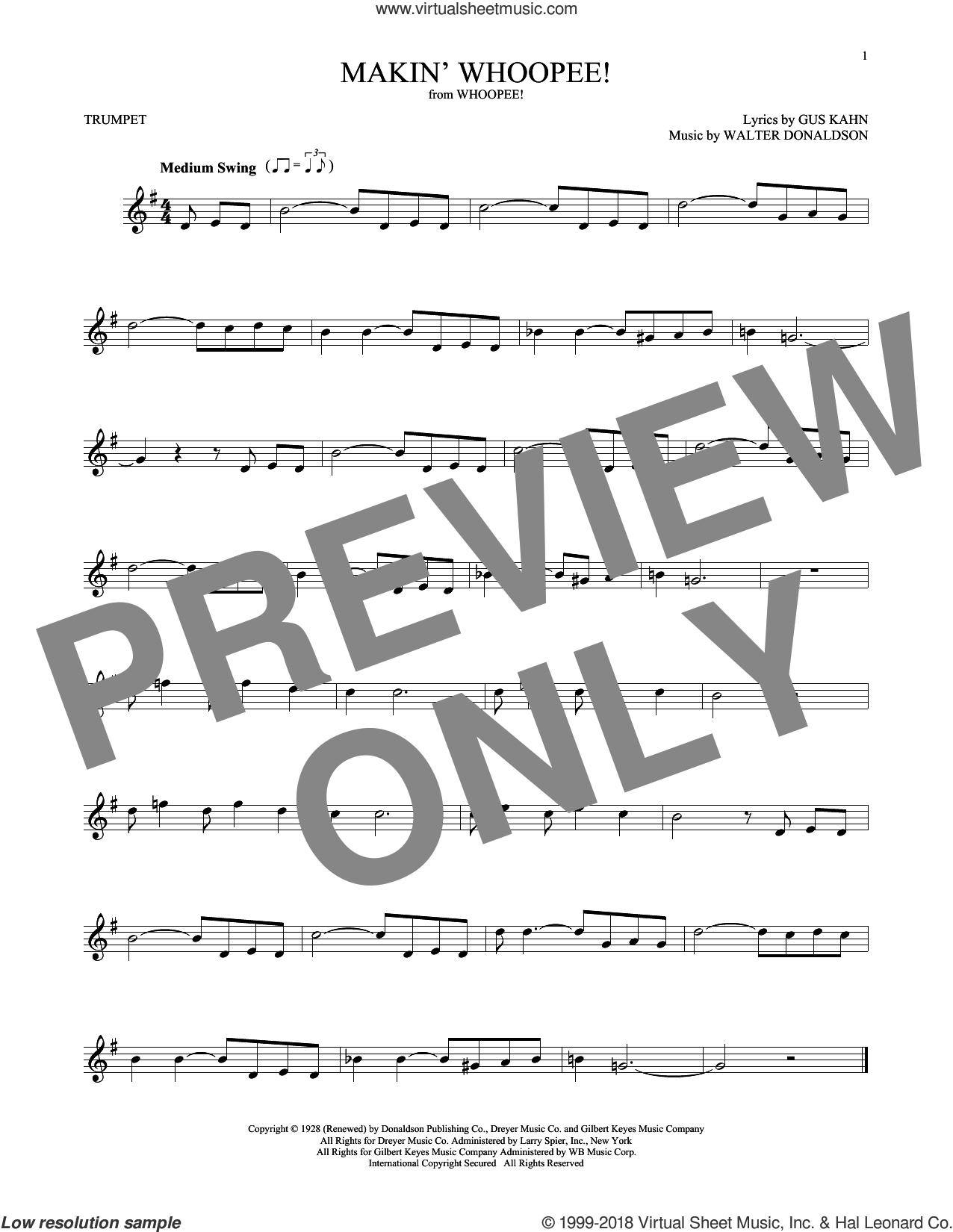 Makin' Whoopee! sheet music for trumpet solo by Gus Kahn, John Hicks and Walter Donaldson, intermediate skill level