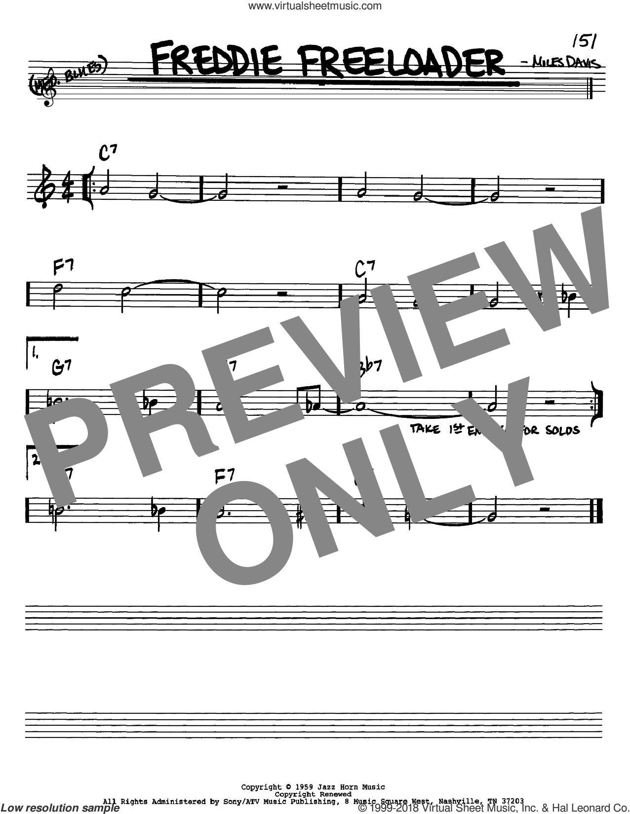 Freddie Freeloader sheet music for voice and other instruments (Bb) by Miles Davis. Score Image Preview.