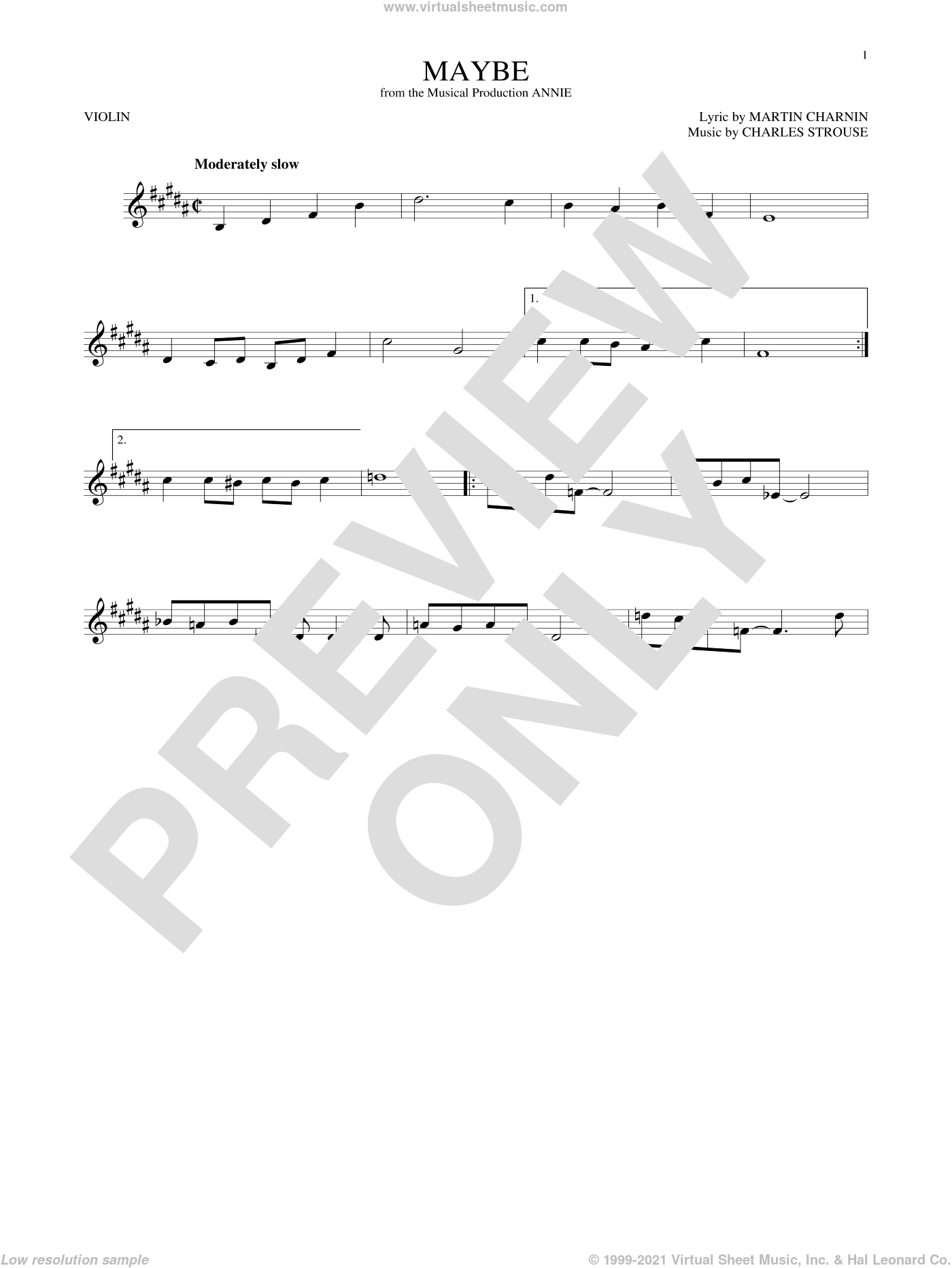 Maybe sheet music for violin solo by Charles Strouse and Martin Charnin, intermediate. Score Image Preview.