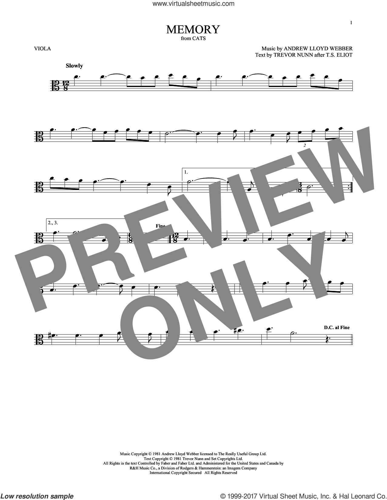Memory (from Cats) sheet music for viola solo by Andrew Lloyd Webber, Barbra Streisand and Trevor Nunn, intermediate skill level