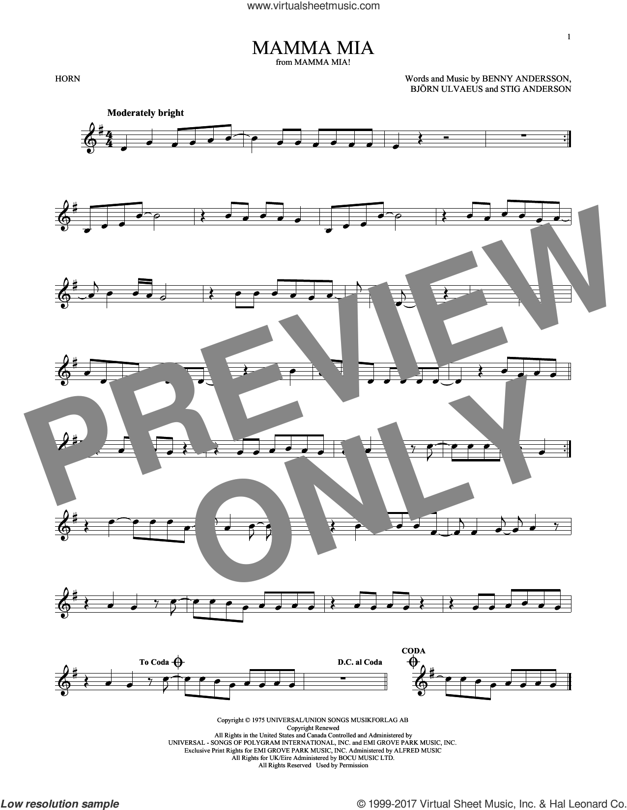 Mamma Mia sheet music for horn solo by ABBA, Meryl Streep, Benny Andersson, Bjorn Ulvaeus and Stig Anderson, intermediate skill level