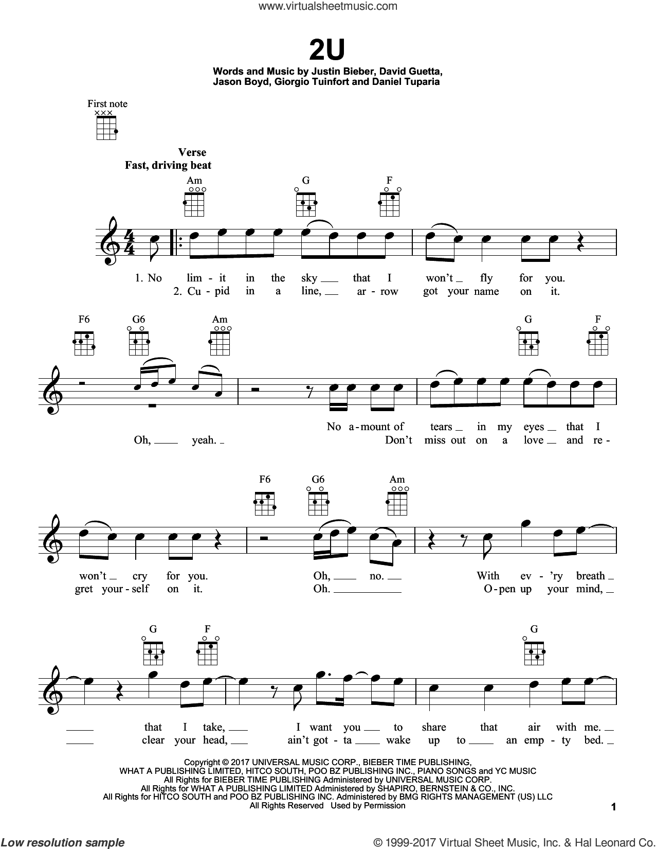 2U sheet music for ukulele by Justin Bieber & David Guetta, David Guetta, Giorgio Tuinfort and Justin Bieber. Score Image Preview.