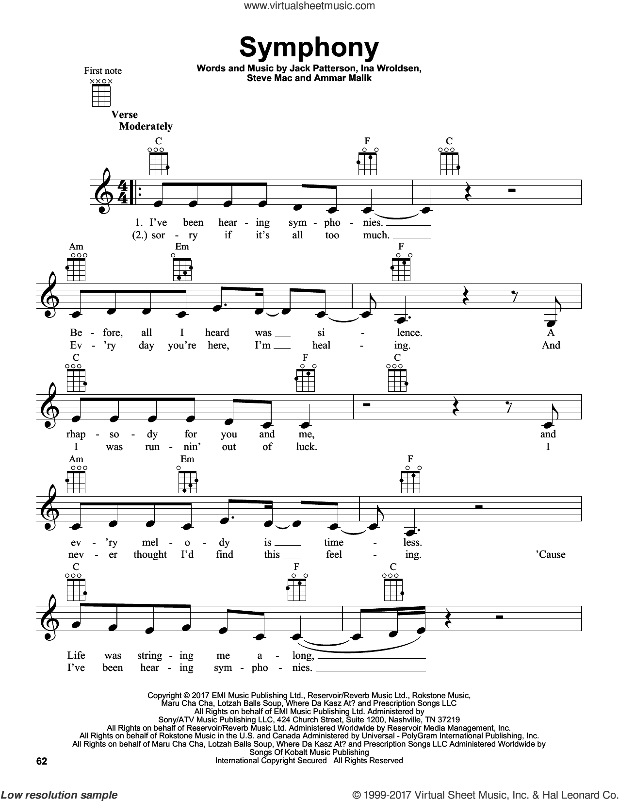 Symphony sheet music for ukulele by Clean Bandit feat. Zara Larsson, Ammar Malik and Steve Mac. Score Image Preview.