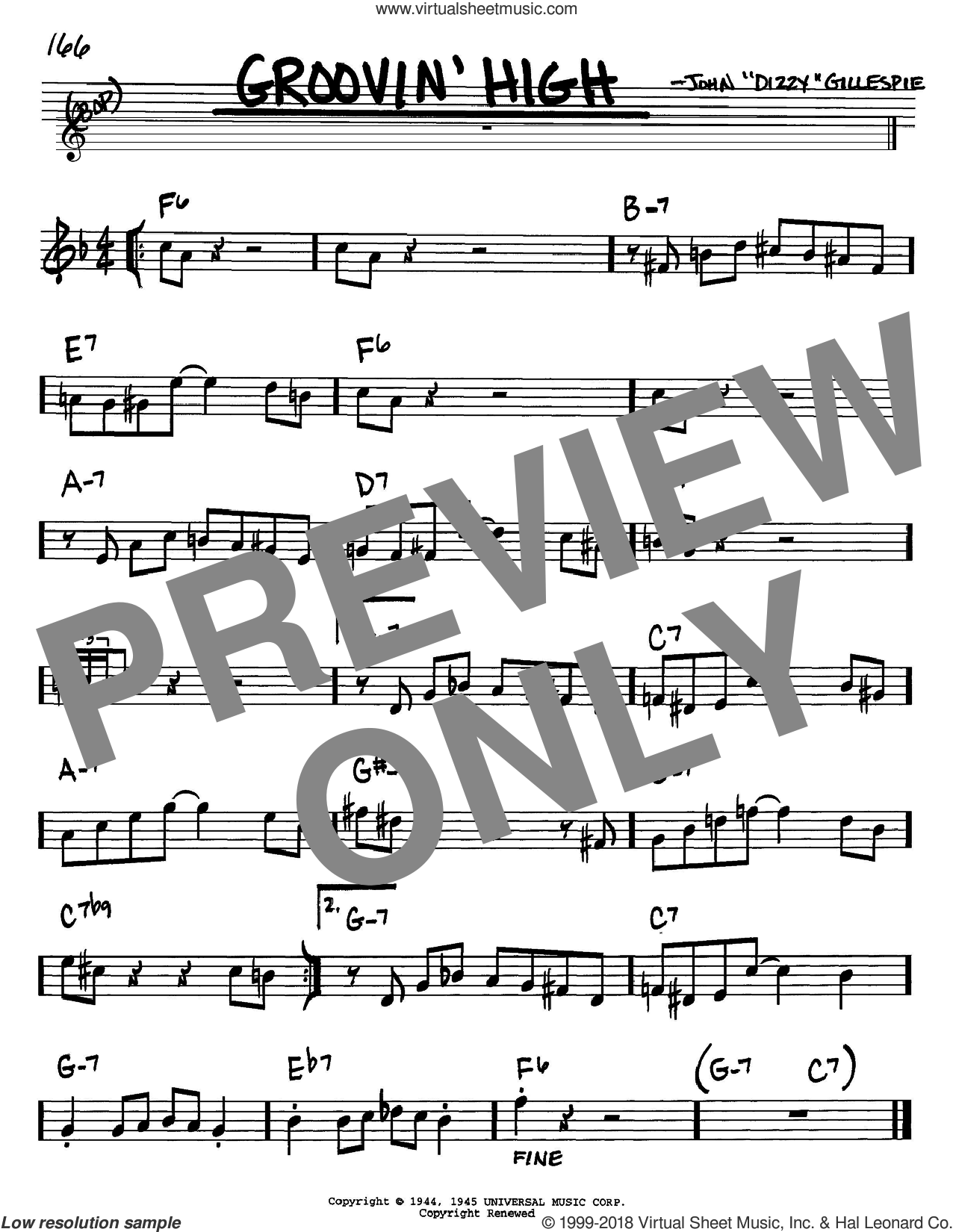 Groovin' High sheet music for voice and other instruments (Bb) by Dizzy Gillespie and Charlie Parker, intermediate voice. Score Image Preview.