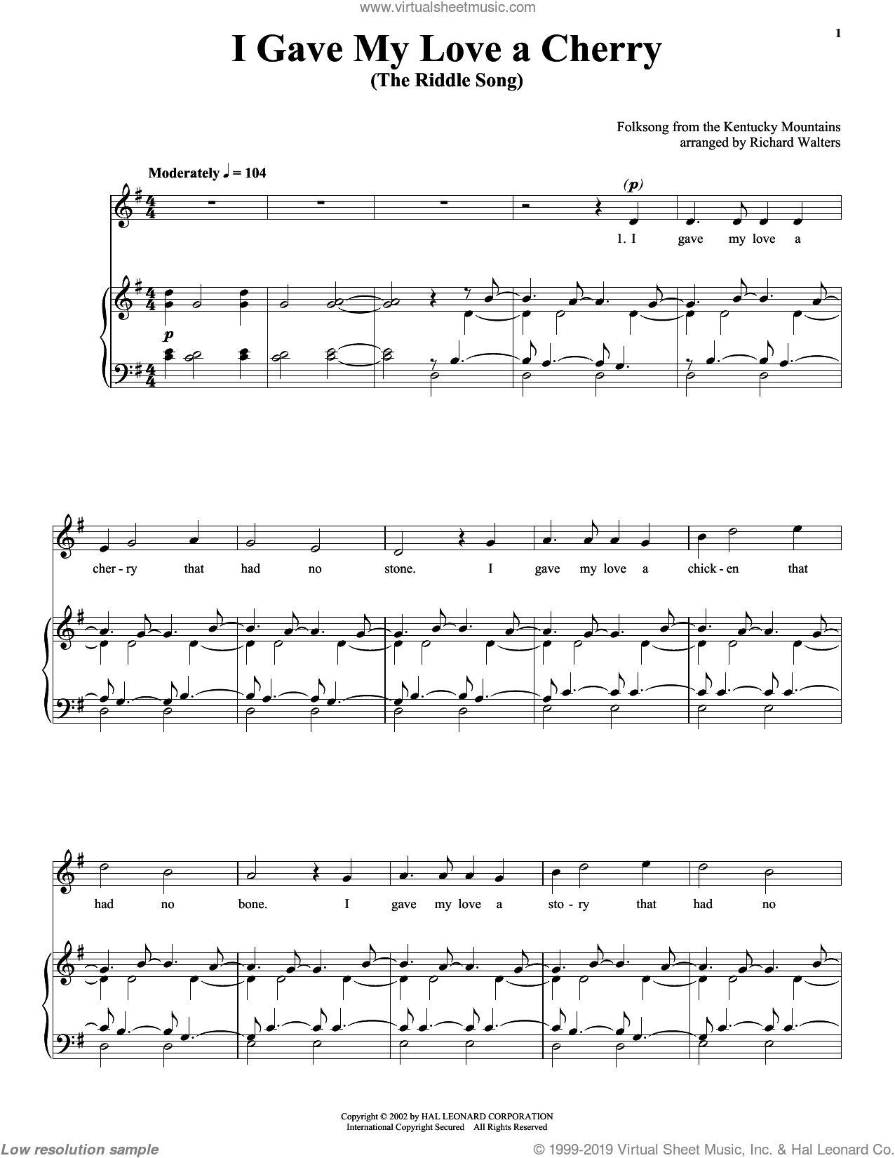 I Gave My Love A Cherry (The Riddle Song) sheet music for voice, piano or guitar, intermediate skill level