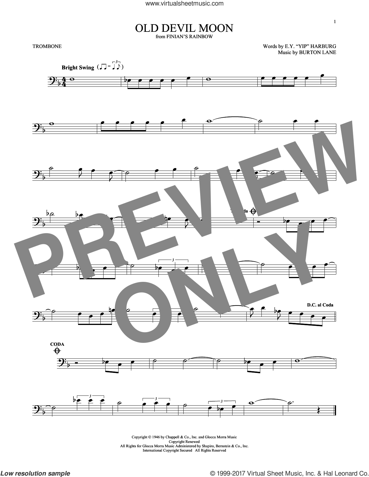 Old Devil Moon sheet music for trombone solo by E.Y. Harburg and Burton Lane, intermediate skill level