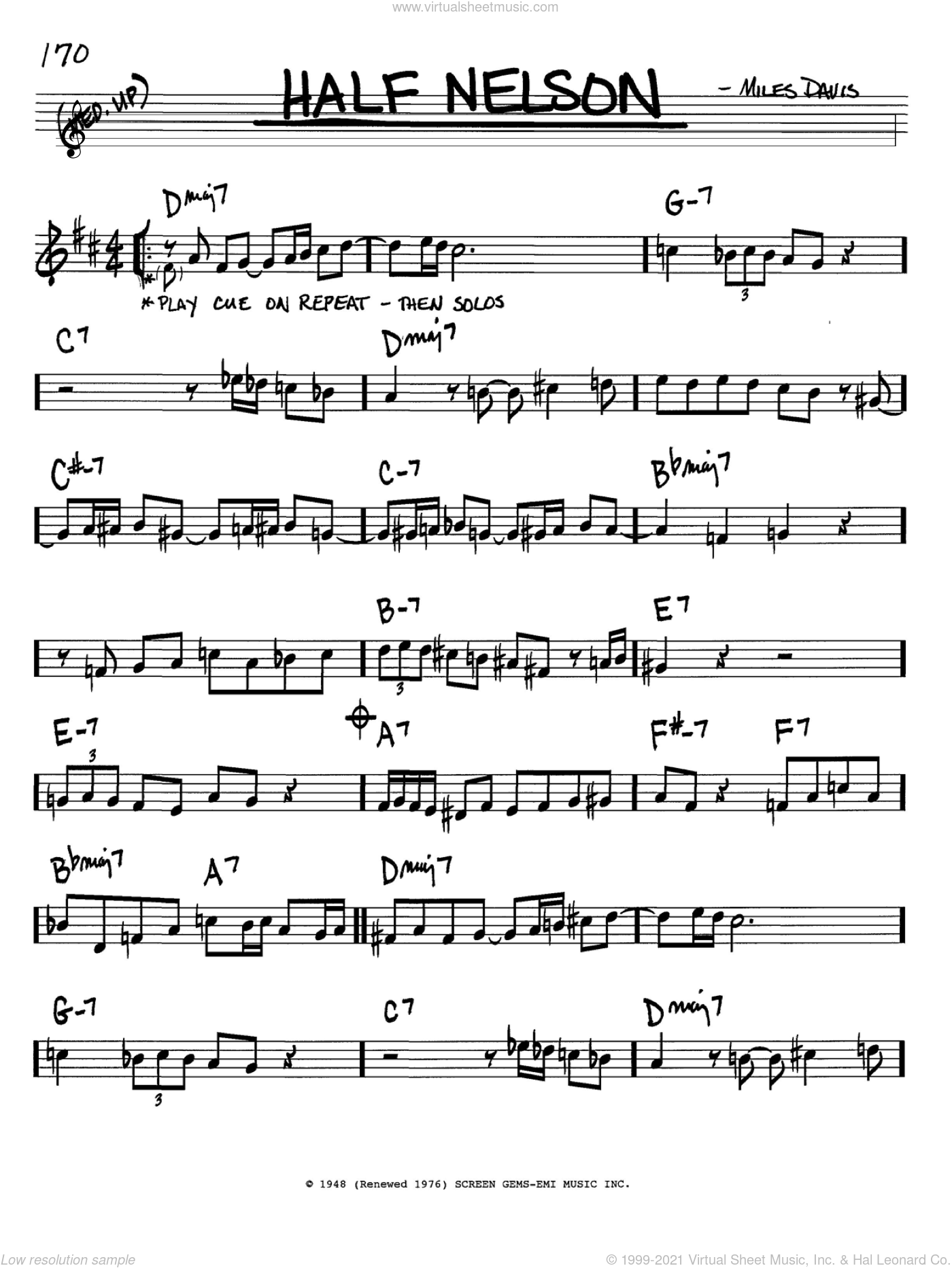 Half Nelson sheet music for voice and other instruments (in Bb) by Miles Davis, intermediate skill level