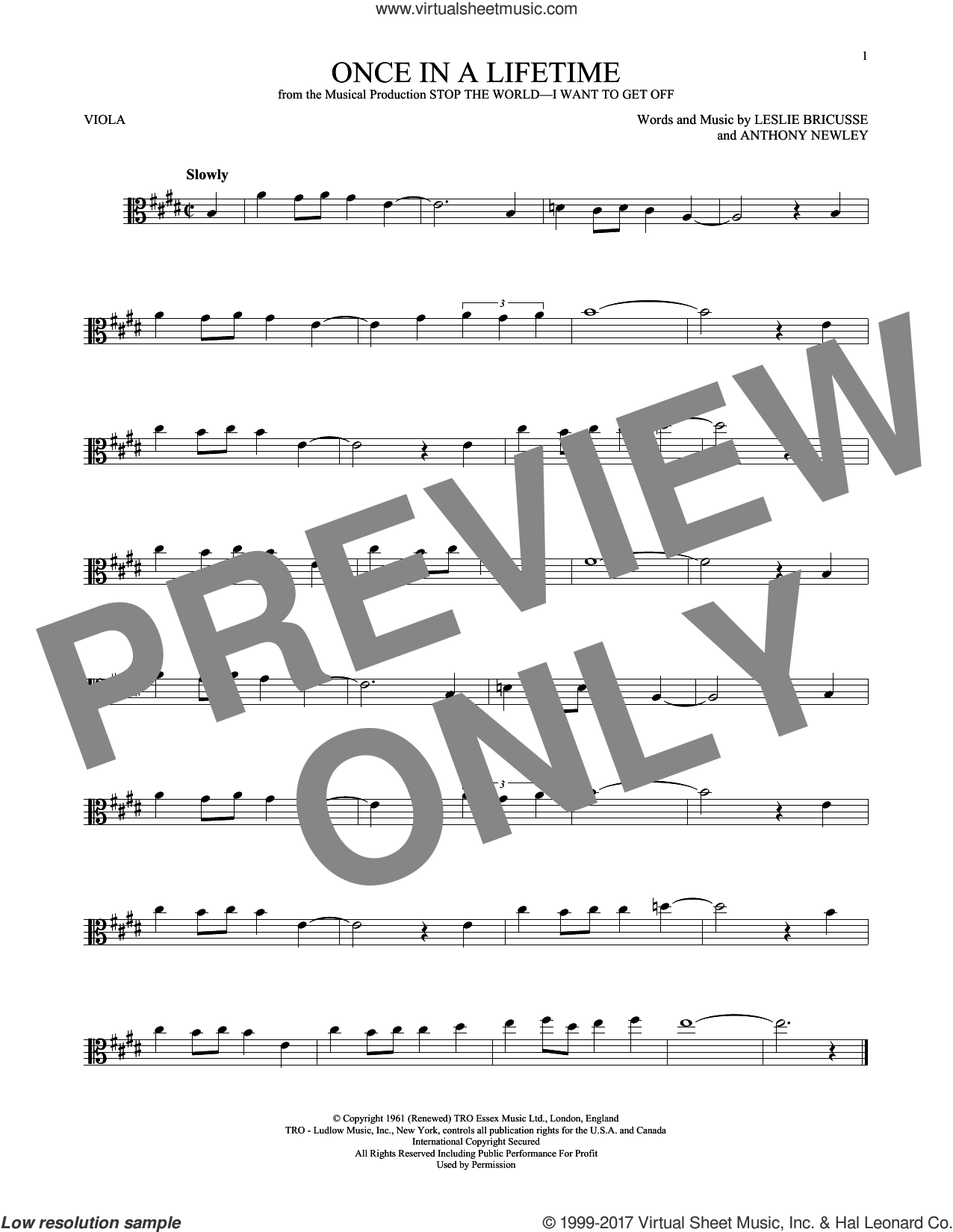 Once In A Lifetime sheet music for viola solo by Leslie Bricusse and Anthony Newley, intermediate skill level