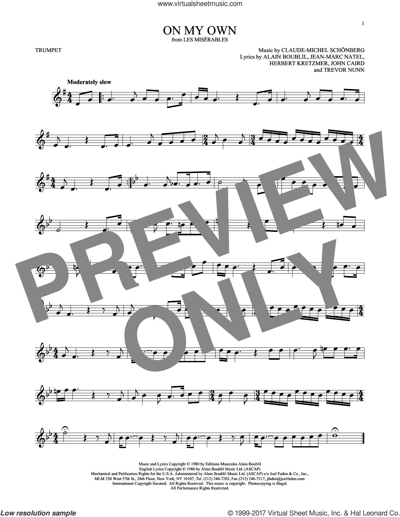 On My Own sheet music for trumpet solo by Alain Boublil, Claude-Michel Schonberg, Herbert Kretzmer, Jean-Marc Natel, John Caird and Trevor Nunn, intermediate skill level