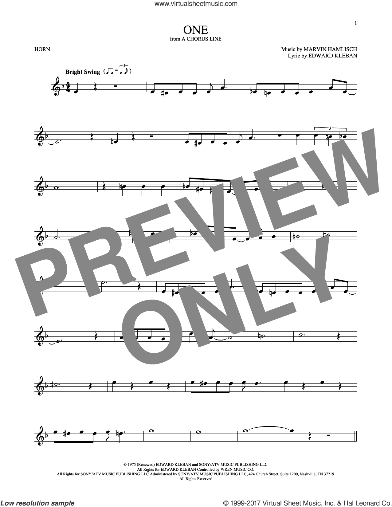 One sheet music for horn solo by Marvin Hamlisch and Edward Kleban, intermediate skill level