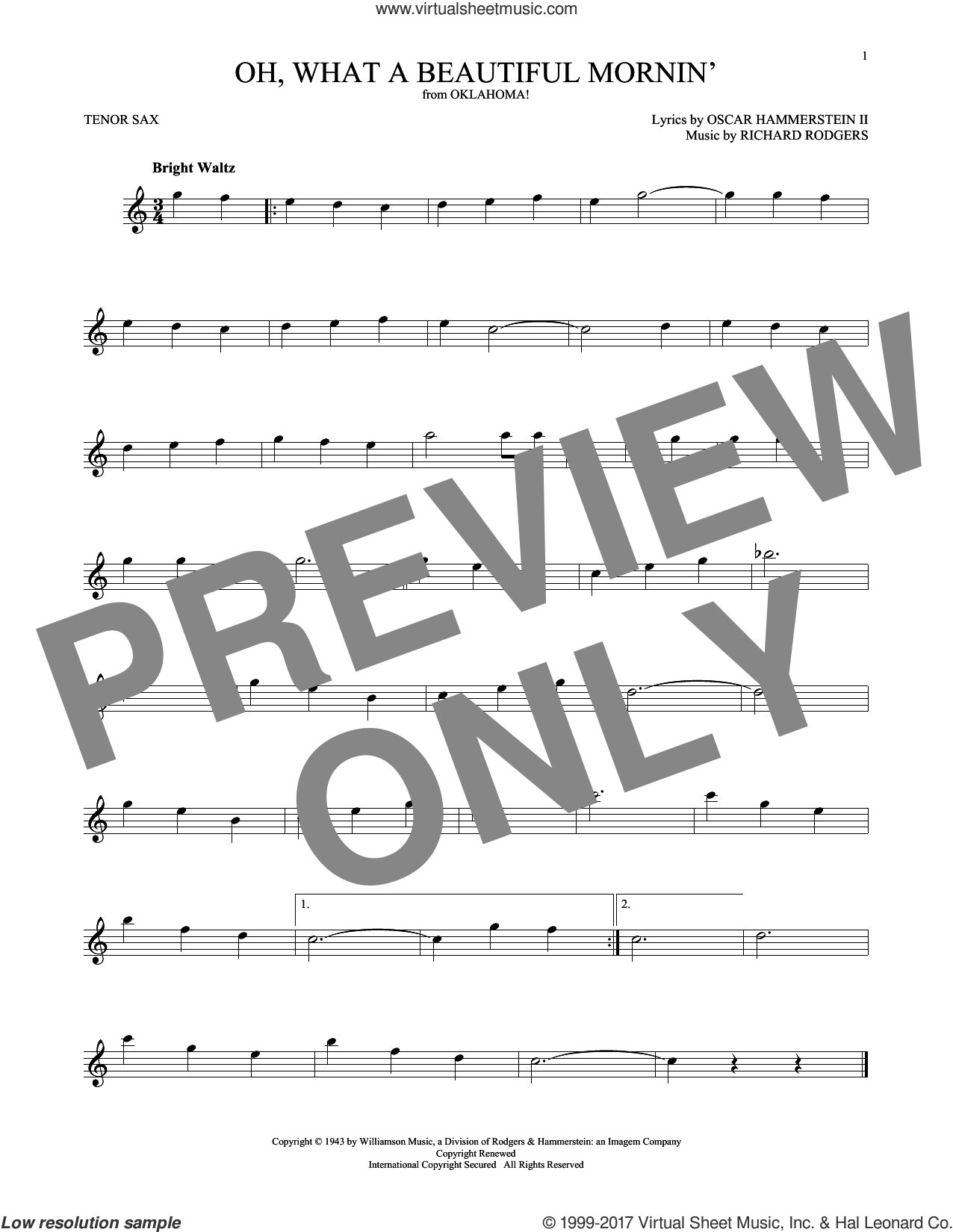 Oh, What A Beautiful Mornin' sheet music for tenor saxophone solo by Rodgers & Hammerstein, Oscar II Hammerstein and Richard Rodgers. Score Image Preview.