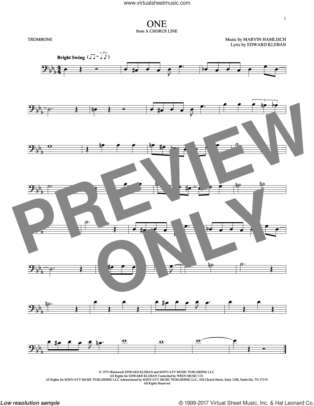 One sheet music for trombone solo by Marvin Hamlisch and Edward Kleban, intermediate skill level