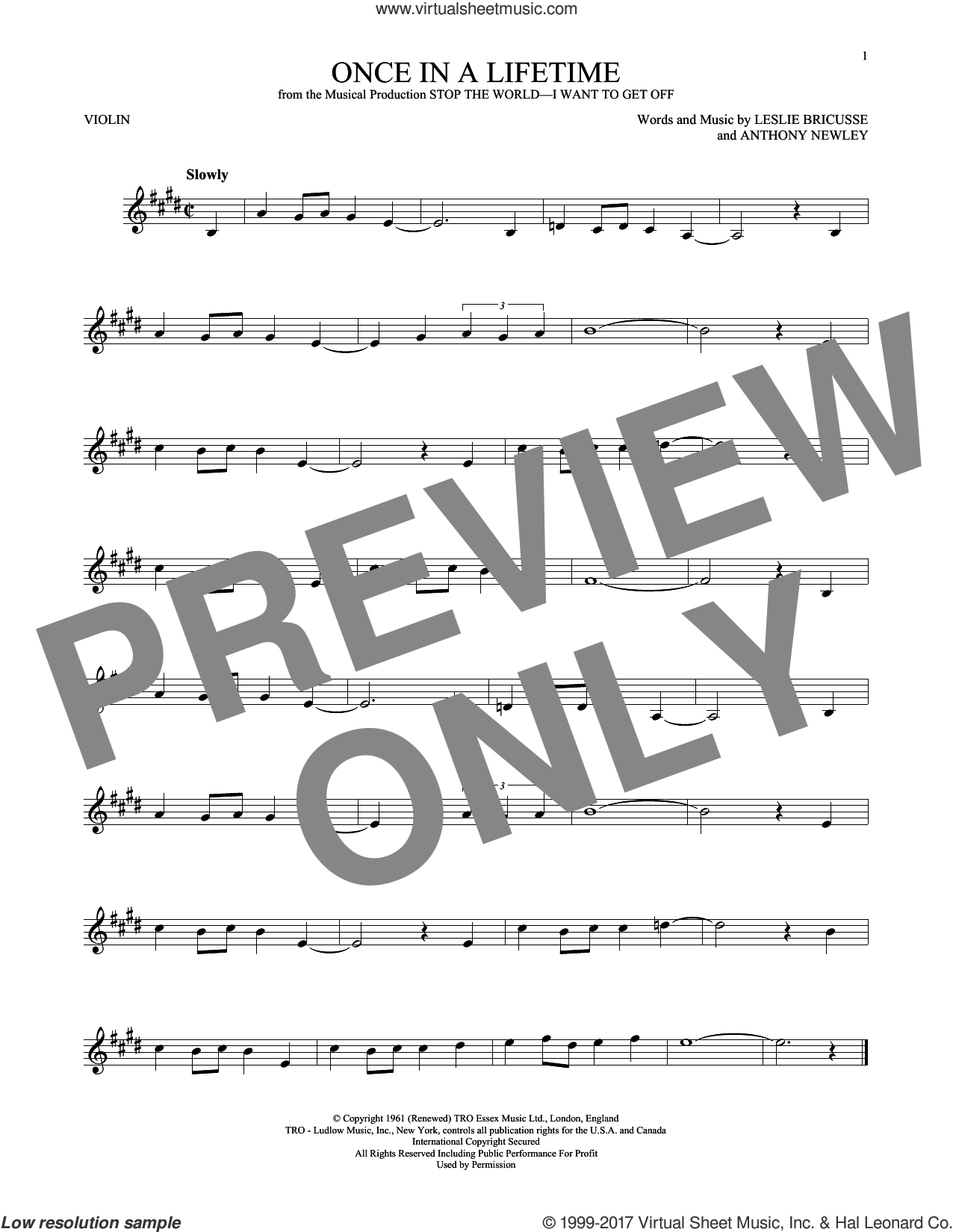Once In A Lifetime sheet music for violin solo by Leslie Bricusse and Anthony Newley. Score Image Preview.