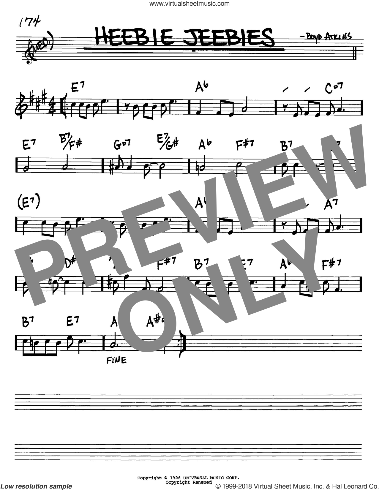 Heebie Jeebies sheet music for voice and other instruments (Bb) by Boyd Atkins and Louis Armstrong. Score Image Preview.
