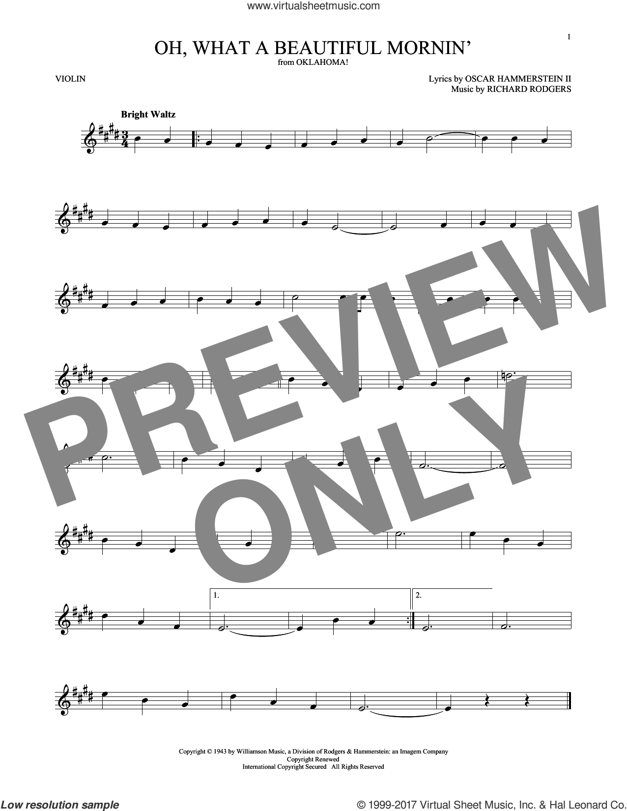 Oh, What A Beautiful Mornin' sheet music for violin solo by Rodgers & Hammerstein, Oscar II Hammerstein and Richard Rodgers, intermediate. Score Image Preview.