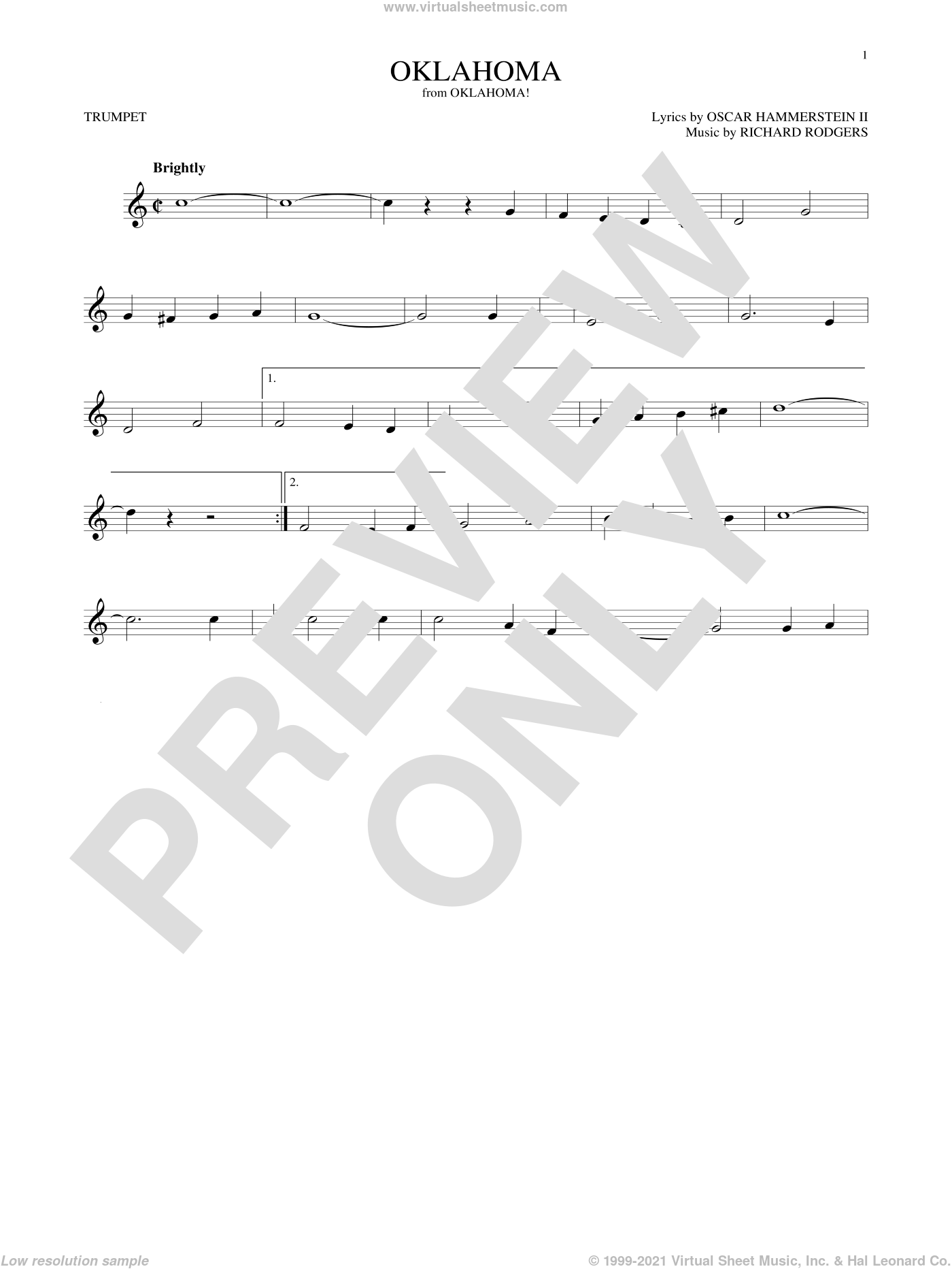 Oklahoma sheet music for trumpet solo by Rodgers & Hammerstein, Oscar II Hammerstein and Richard Rodgers, intermediate skill level
