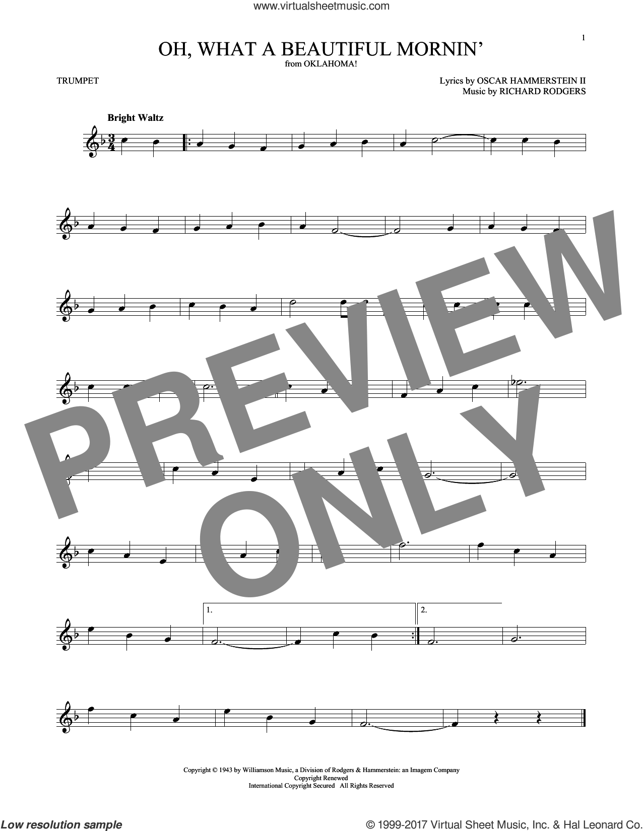 Oh, What A Beautiful Mornin' (from Oklahoma!) sheet music for trumpet solo by Rodgers & Hammerstein, Oscar II Hammerstein and Richard Rodgers, intermediate skill level